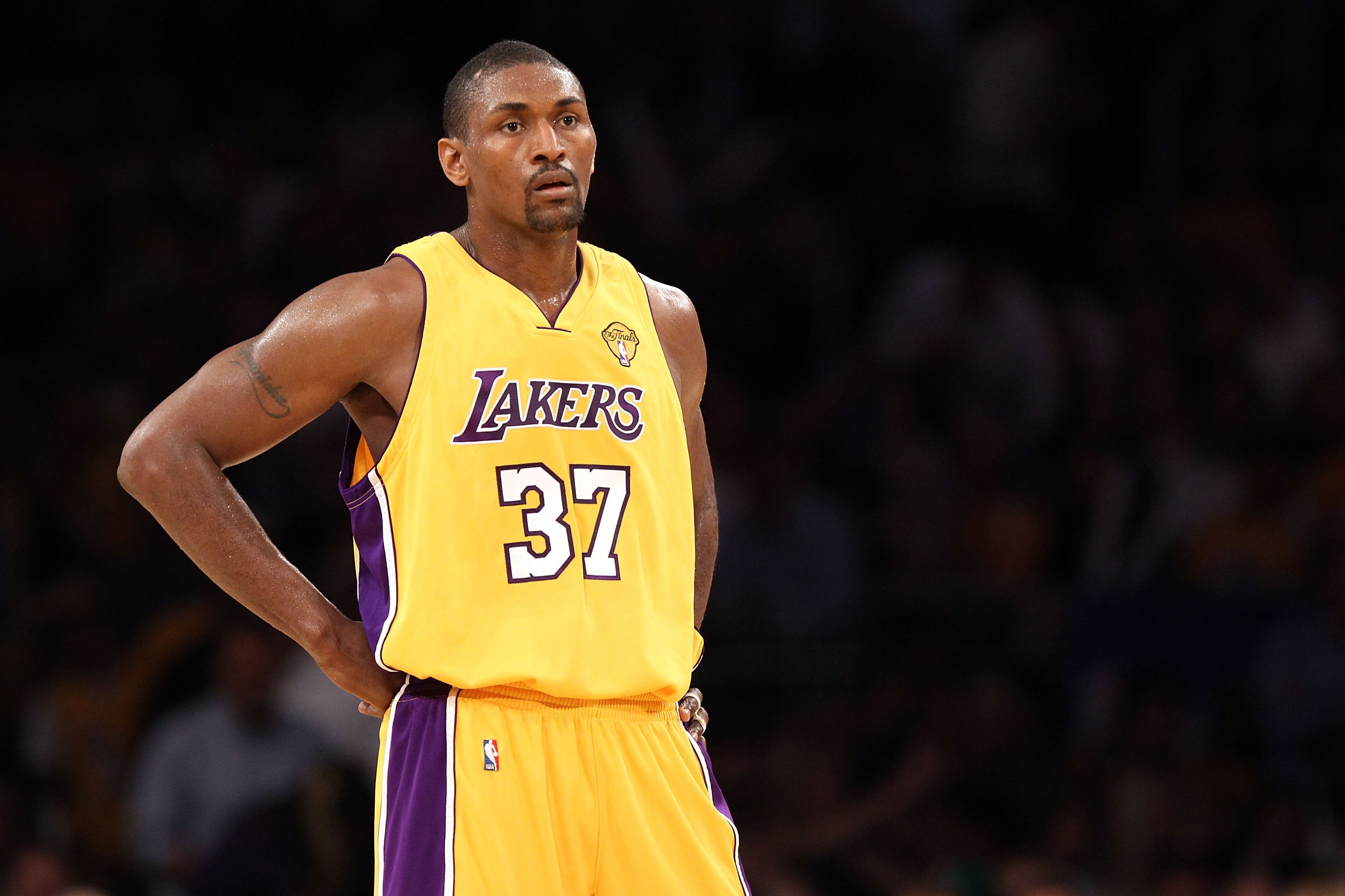 LOS ANGELES, CA - JUNE 15:  Ron Artest #37 of the Los Angeles Lakers looks on while taking on the Boston Celtics in Game Six of the 2010 NBA Finals at Staples Center on June 15, 2010 in Los Angeles, California.  NOTE TO USER: User expressly acknowledges a