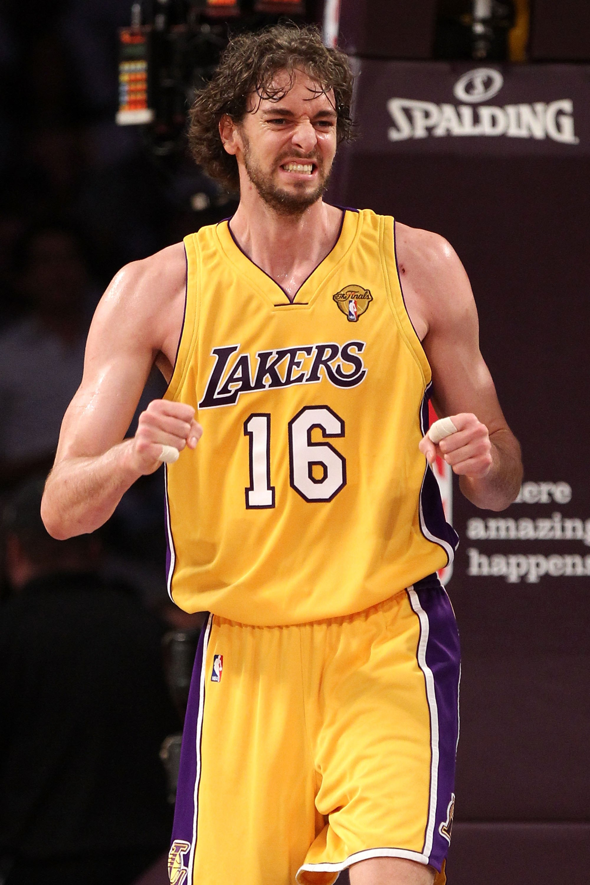 LOS ANGELES, CA - JUNE 15:  Pau Gasol #16 of the Los Angeles Lakers reacts while taking on the Boston Celtics in the first period of Game Six of the 2010 NBA Finals at Staples Center on June 15, 2010 in Los Angeles, California.  NOTE TO USER: User express