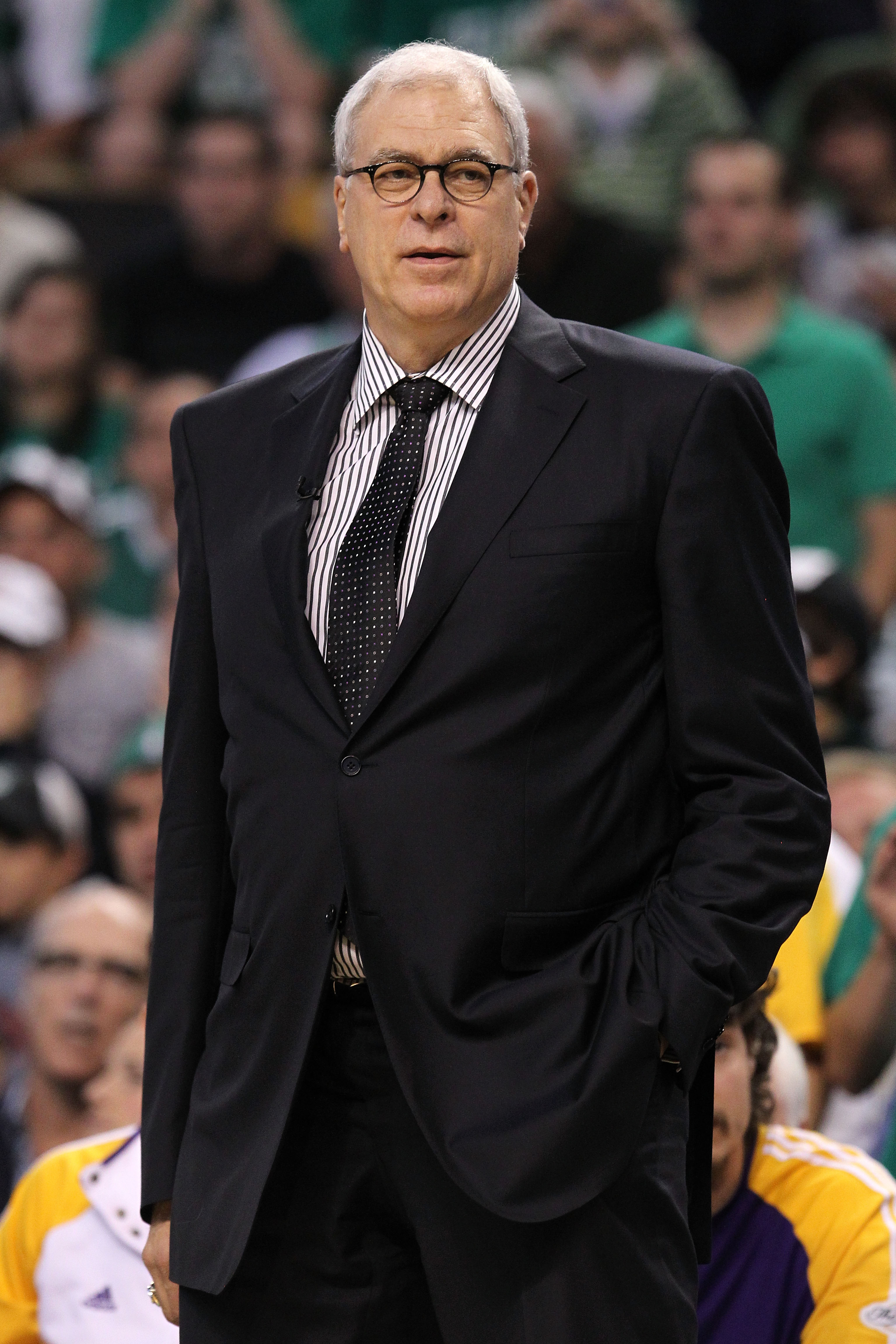 BOSTON - JUNE 13:  Head coach Phil Jackson of the Los Angeles Lakers looks on against the Boston Celtics during Game Five of the 2010 NBA Finals on June 13, 2010 at TD Garden in Boston, Massachusetts. The Celtics won 92-86. NOTE TO USER: User expressly ac