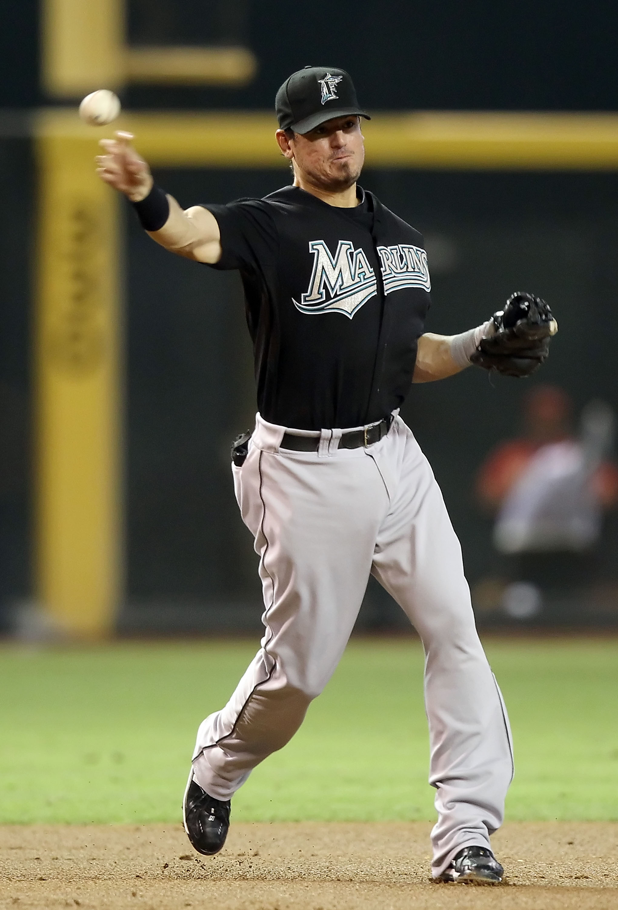 PHOENIX - JULY 08:  Infielder Jorge Cantu #3 of the Florida Marlins in action during the Major League Baseball game against the Arizona Diamondbacks at Chase Field on July 8, 2010 in Phoenix, Arizona. The Diamondbacks defeated the Marlins 10-4.  (Photo by