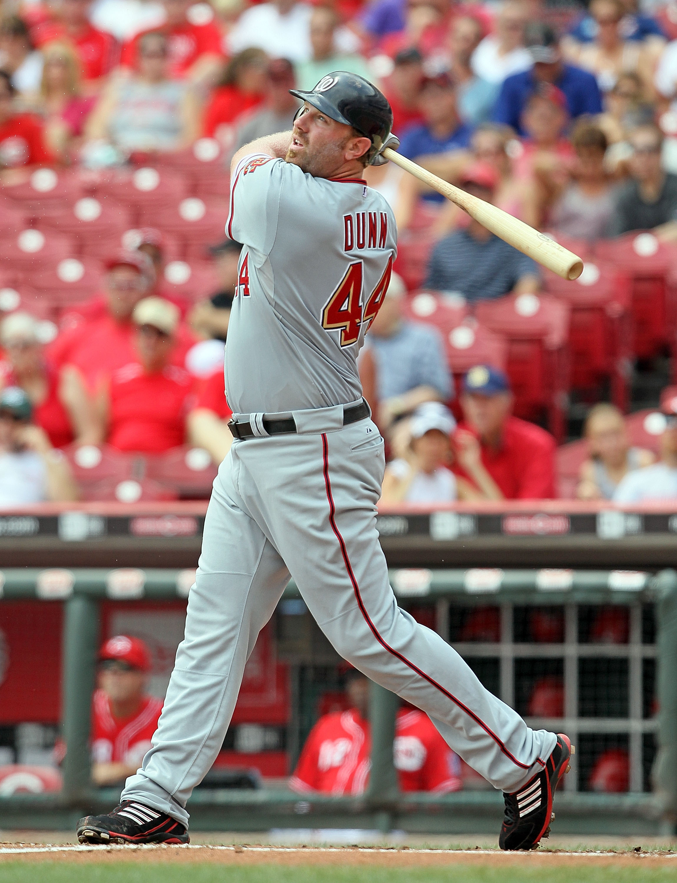 CINCINNATI - JULY 22:  Adam Dunn #44 of the Washington Nationals hits a home run during the game against the Cincinnati Reds at Great American Ball Park on July 22, 2010 in Cincinnati, Ohio.  (Photo by Andy Lyons/Getty Images)