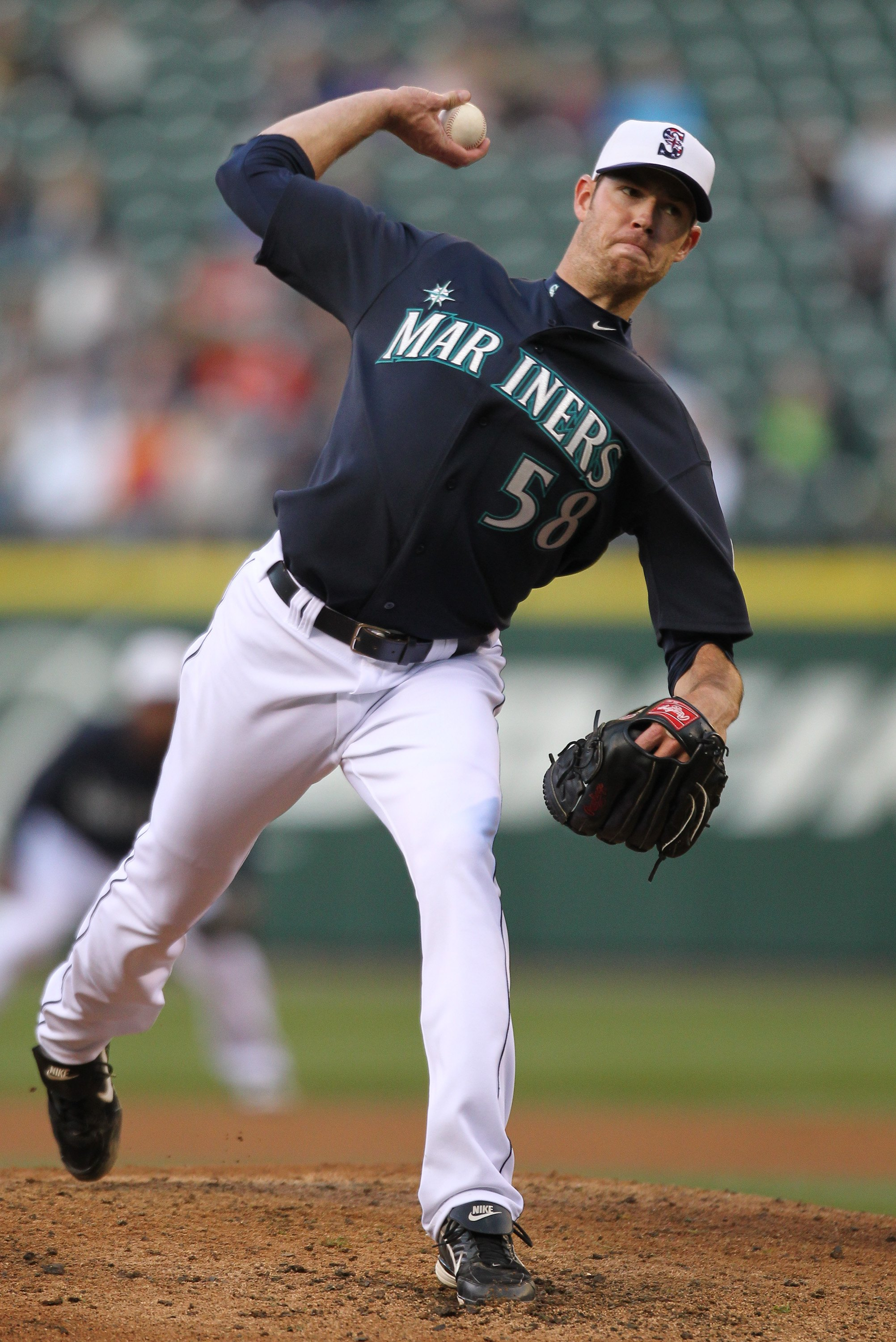 SEATTLE - MAY 31:  Starting pitcher Doug Fister #58 of the Seattle Mariners pitches against the Minnesota Twins at Safeco Field on May 31, 2010 in Seattle, Washington. (Photo by Otto Greule Jr/Getty Images)