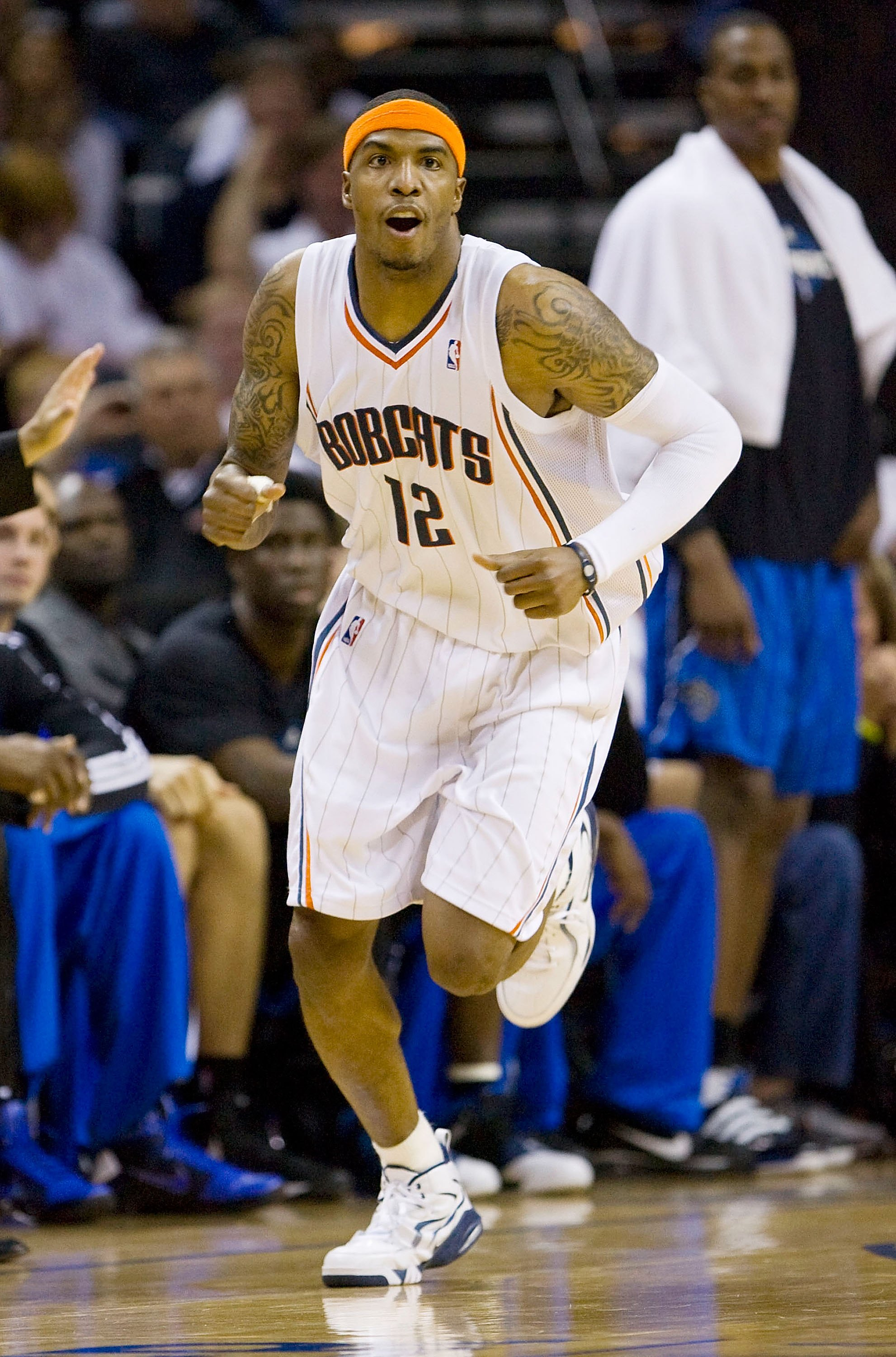 CHARLOTTE, NC - APRIL 26: Tyrus Thomas #12 of the Charlotte Bobcats reacts after making a basket against the Orlando Magic at Time Warner Cable Arena on April 26, 2010 in Charlotte, North Carolina.  The Magic defeated the Bobcats 99-90 to complete the fou