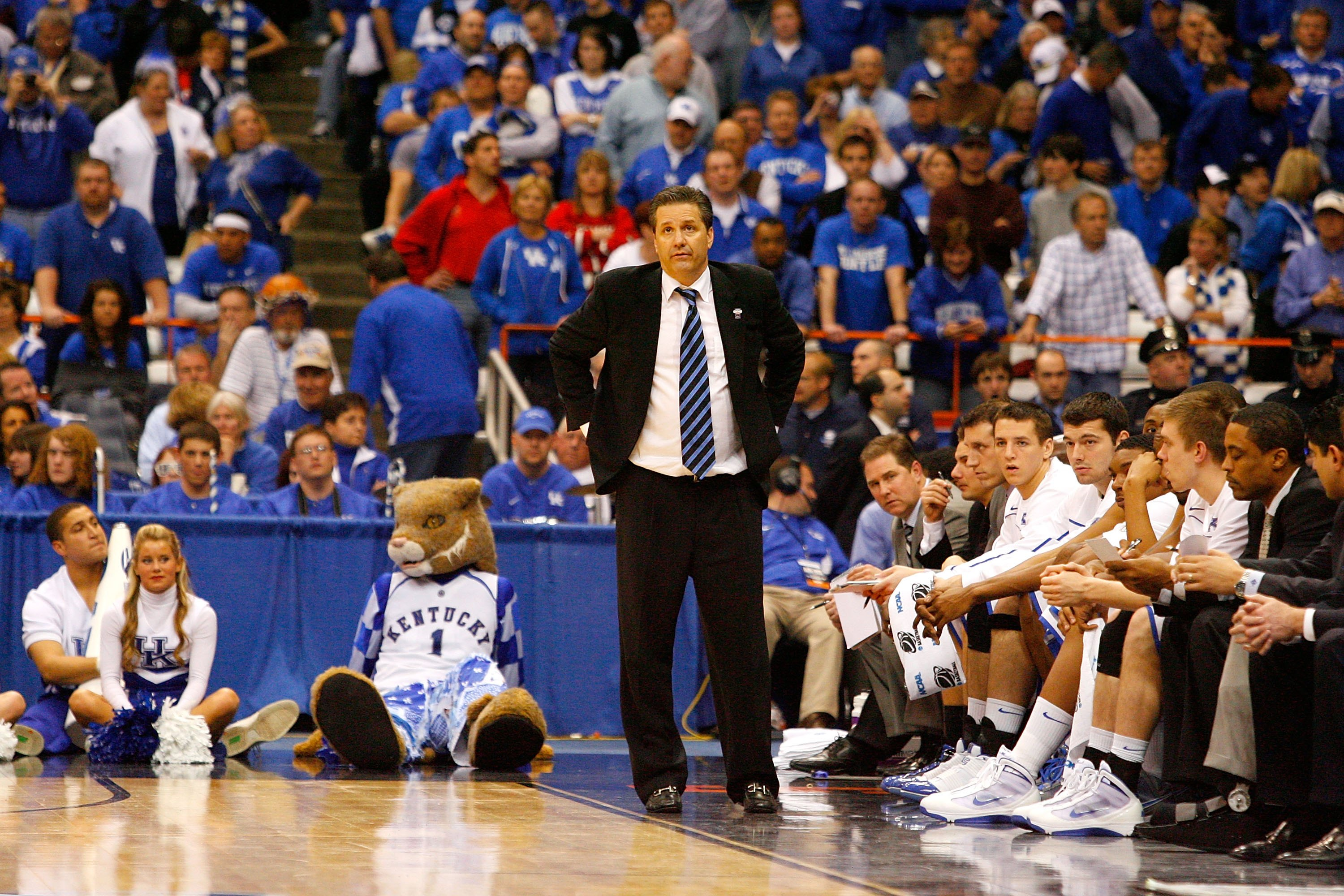 SYRACUSE, NY - MARCH 25:  Head coach John Calipari of the Kentucky Wildcats looks on as he coaches against the Cornell Big Red during the east regional semifinal of the 2010 NCAA men's basketball tournament at the Carrier Dome on March 25, 2010 in Syracus
