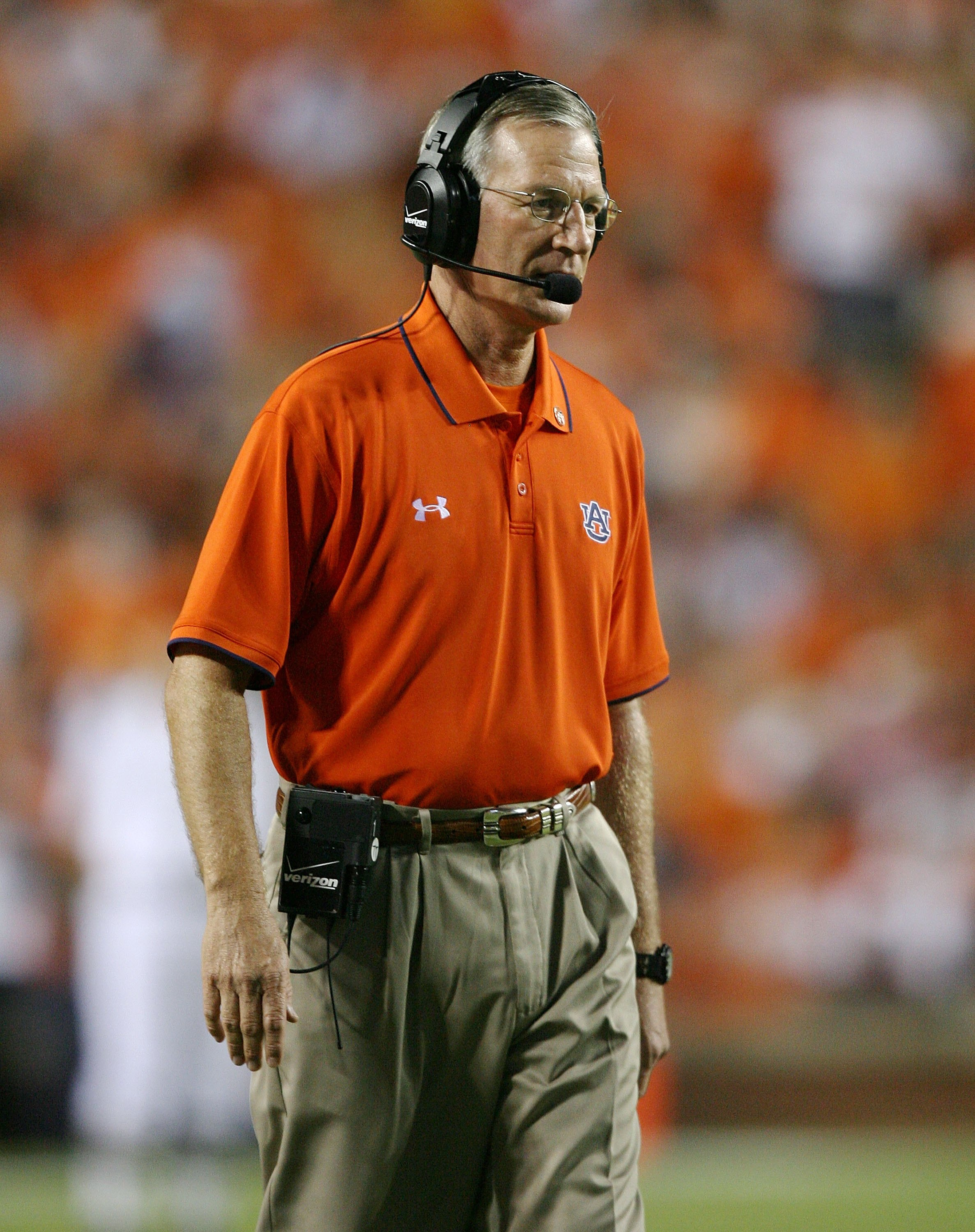 AUBURN, AL - SEPTEMBER 20:  Head coach Tommy Tuberville of the Auburn Tigers watches his team take on the LSU Tigers at Jordan-Hare Stadium on September 20, 2008 in Auburn, Alabama. LSU defeated Auburn 26-21.  (Photo by Doug Benc/Getty Images)