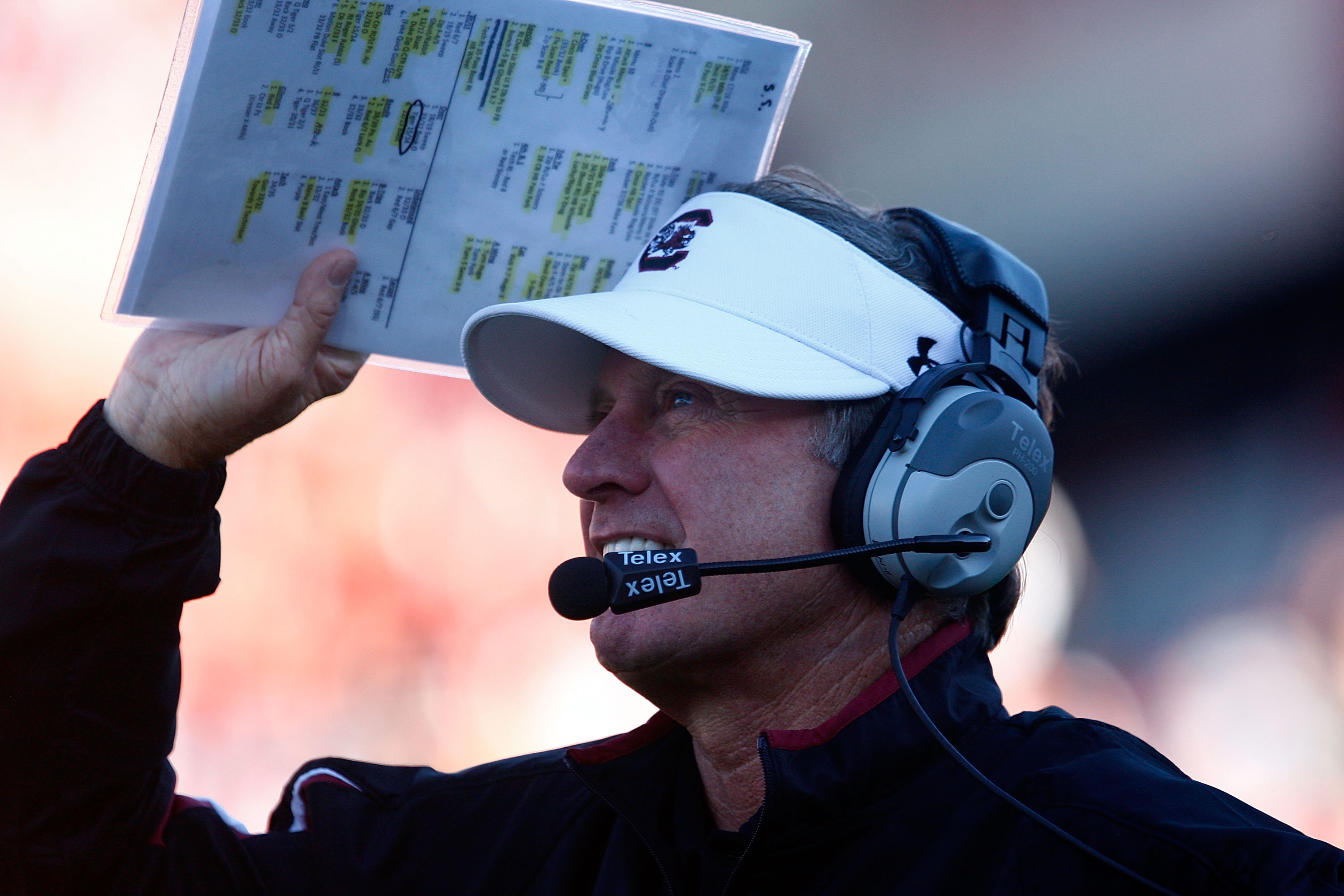 COLUMBIA, SC - NOVEMBER 28:  South Carolina Gamecocks Head Coach Steve Spurrier walks the sideline against the Clemson Tigers at Williams-Brice Stadium on November 28, 2009 in Columbia, South Carolina.  (Photo by Scott Halleran/Getty Images)