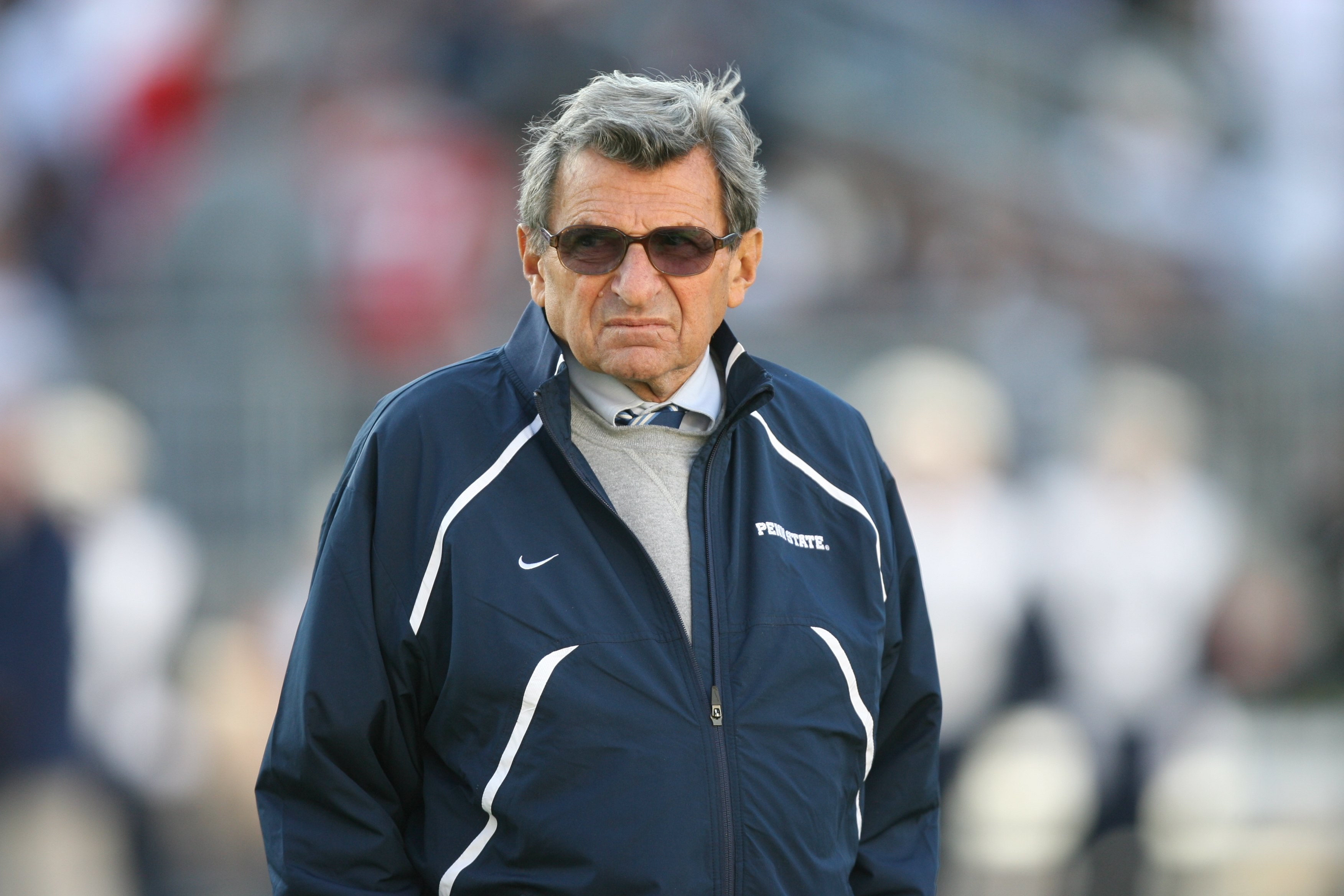 STATE COLLEGE, PA - NOVEMBER 7: Head coach Joe Paterno of the Penn State Nittany Lions watches warm-ups before a game against the Ohio State Buckeyes on November 7, 2009 at Beaver Stadium in State College, Pennsylvania. Ohio State won 24-7. (Photo by Hunt