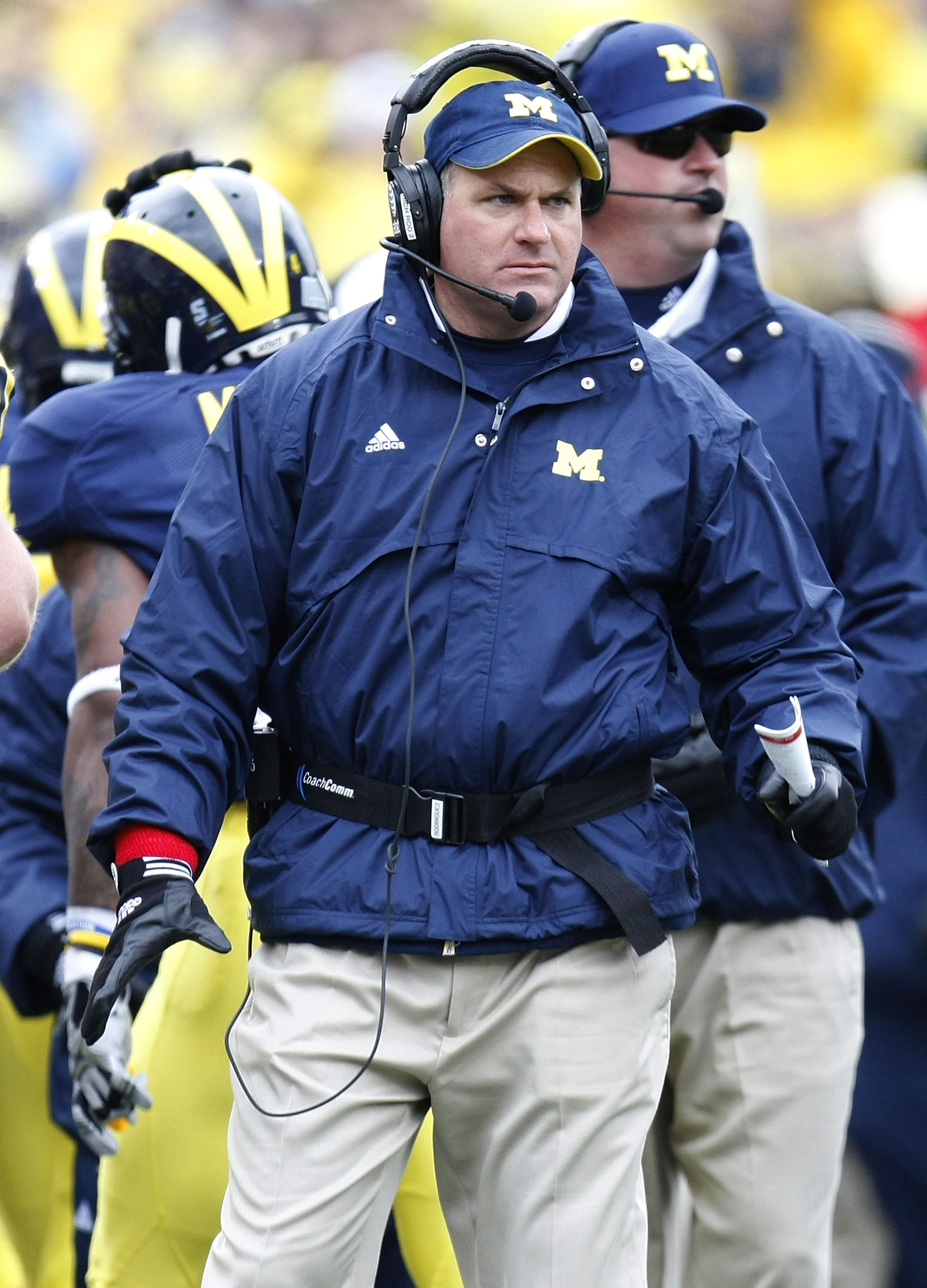 ANN ARBOR, MI - OCTOBER 24:  Head Coach Rich Rodriguez of the Michigan Wolverines looks on while playing the Penn State Nittany Lions on October 24, 2009 at Michigan Stadium in Ann Arbor, Michigan. Penn State won the game 35-10.  (Photo by Gregory Shamus/