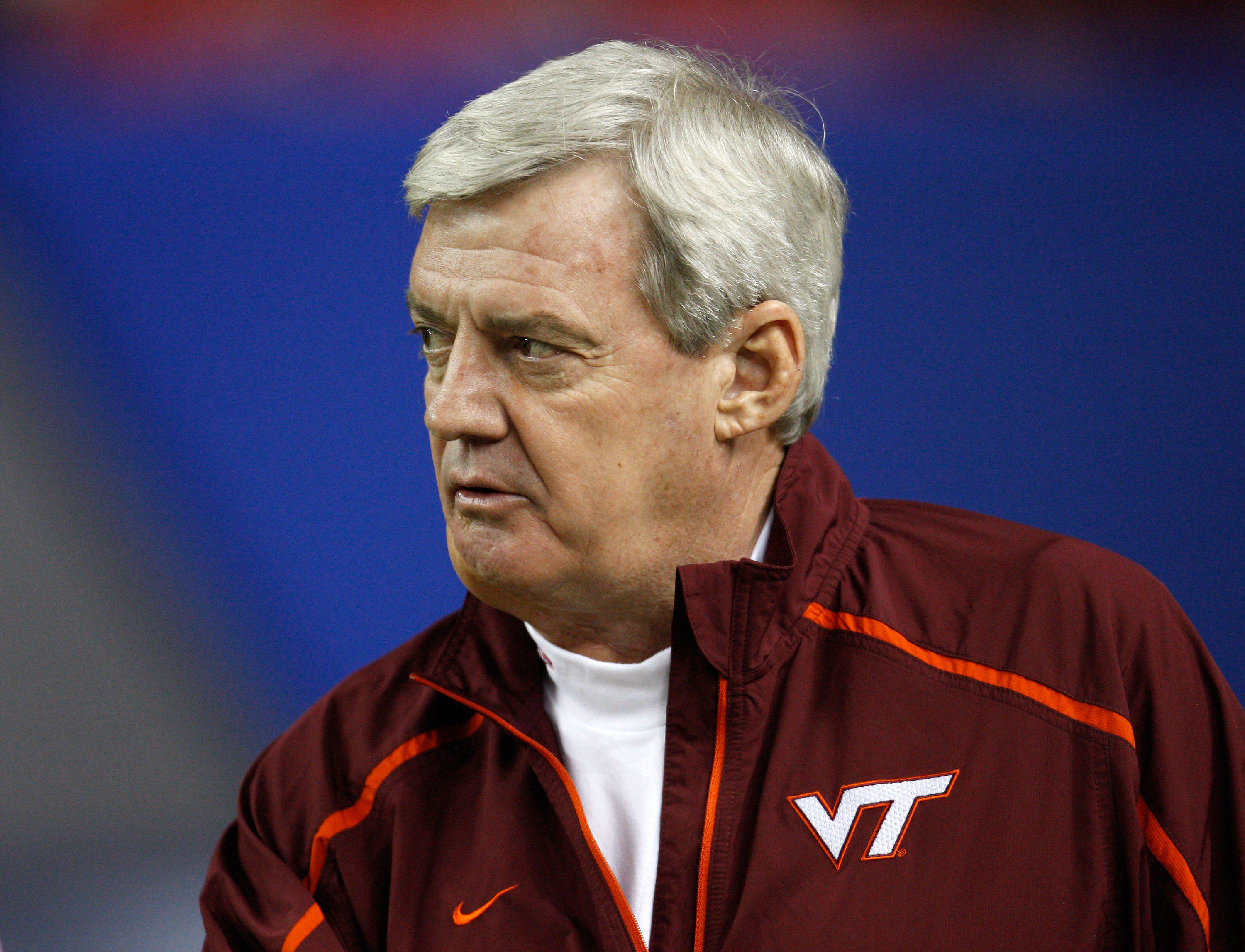 ATLANTA - DECEMBER 31:  Head coach Frank Beamer of the Virginia Tech Hokies watches pre-game warmups before the Chick-Fil-A Bowl against the Tennessee Volunteers at the Georgia Dome on December 31, 2009 in Atlanta, Georgia.  The Hokies beat the Volunteers