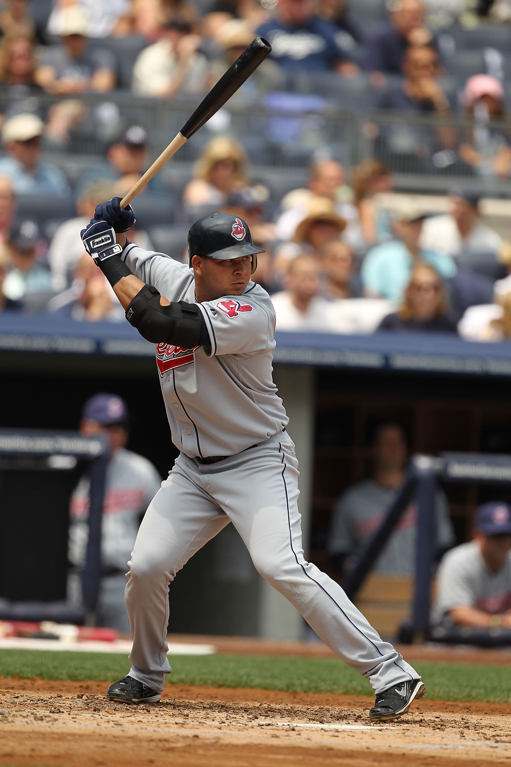 NEW YORK - MAY 29:  Jhonny Peralta #2 of the Cleveland Indians in action against The New York Yankees during their game on May 29, 2010 at Yankee Stadium in the Bronx Borough of New York City.  (Photo by Al Bello/Getty Images)