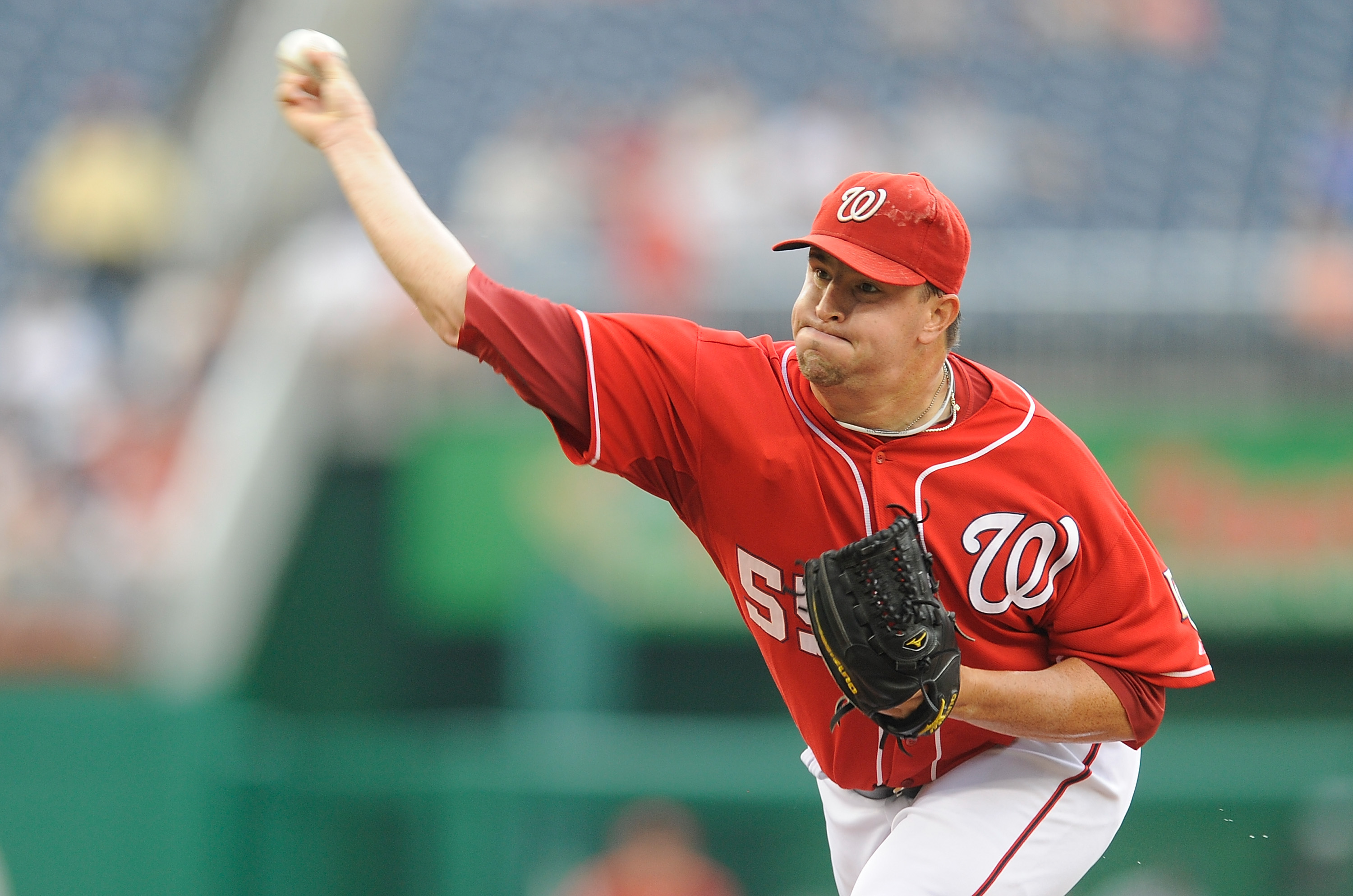 WASHINGTON - JULY 29:  Matt Capps #55 of the Washington Nationals pitches against the Atlanta Braves at Nationals Park on July 29, 2010 in Washington, DC.  (Photo by Greg Fiume/Getty Images)