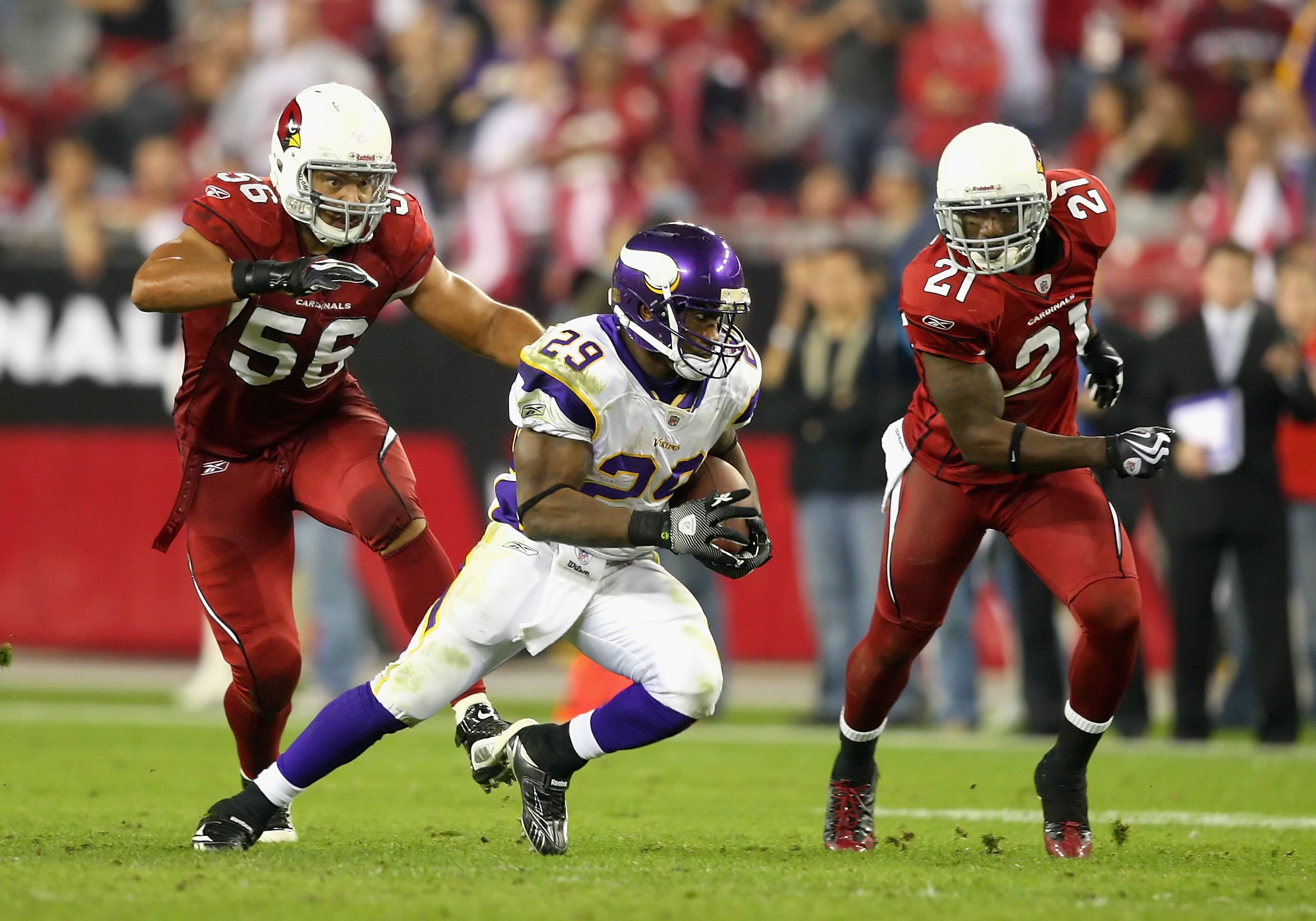 GLENDALE, AZ - DECEMBER 06:  Runningback Chester Taylor #29 of the Minnesota Vikings rushes the football during the NFL game against the Arizona Cardinals at the Universtity of Phoenix Stadium on December 6, 2009 in Glendale, Arizona.  The Cardinals defea