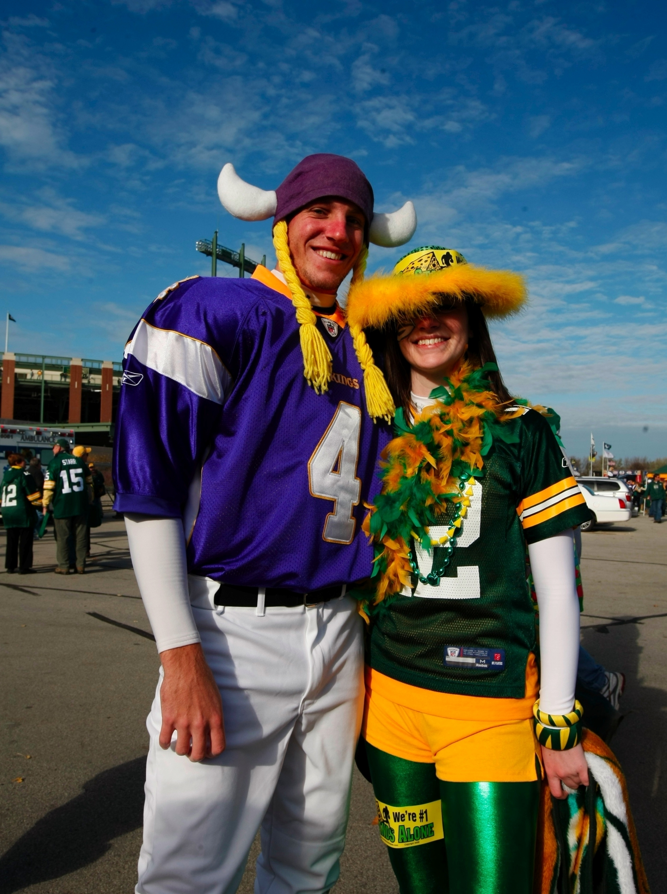 GREEN BAY, WI - NOVEMBER 01:  Fans gather outside Lambeau Field before the start of the game between the Green Bay Packers and the Minnesota Vikings on November 1, 2009 in Green Bay, Wisconsin. (Photo by Scott Boehm/Getty Images)