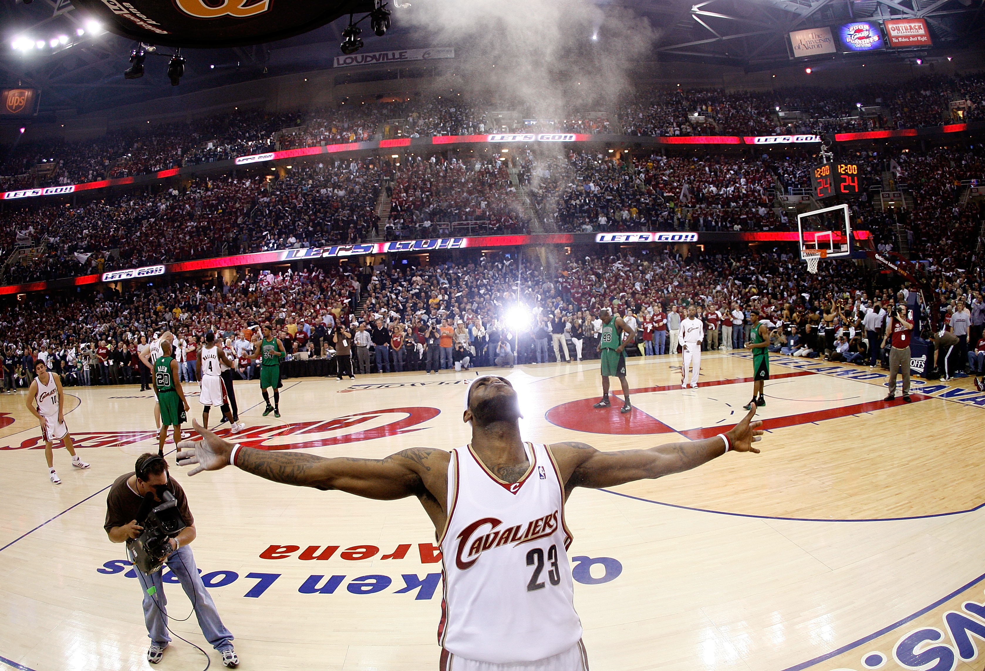 CLEVELAND - MAY 12:  LeBron James #23 of the Cleveland Cavaliers goes through his pregame ritual of applying powder to his hands and throwing it up in the air against the Boston Celtics in Game Four of the 2008 NBA Eastern Conference Semifinals on May 12,