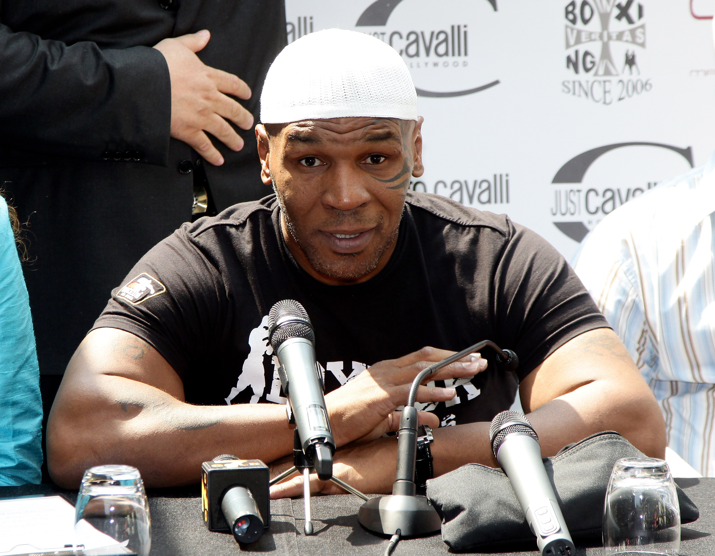 MILAN, ITALY - JULY 09:  Mike Tyson attends a press conference held at Just Cavalli Cafe on July 9, 2010 in Milan, Italy.  (Photo by Vittorio Zunino Celotto/Getty Images)