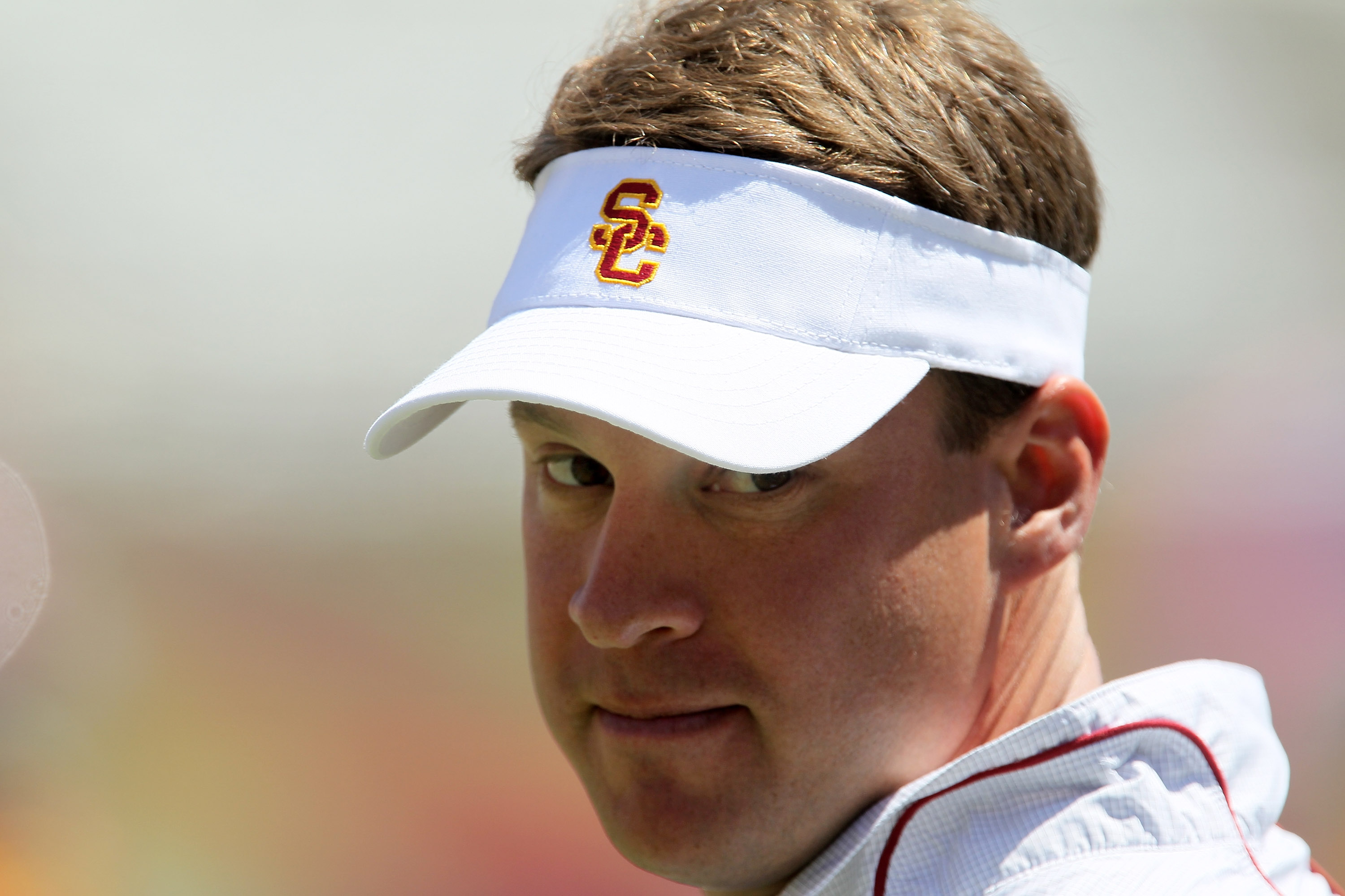 LOS ANGELES, CA - MAY 01:  Head coach Lane Kiffin looks on during the  USC Trojans spring game on  May 1, 2010 at the Los Angeles Memorial Coliseum in Los Angeles, California.  (Photo by Stephen Dunn/Getty Images)