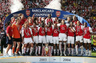 Arsenal celebrate their last title at Highbury on May 15, 2004.