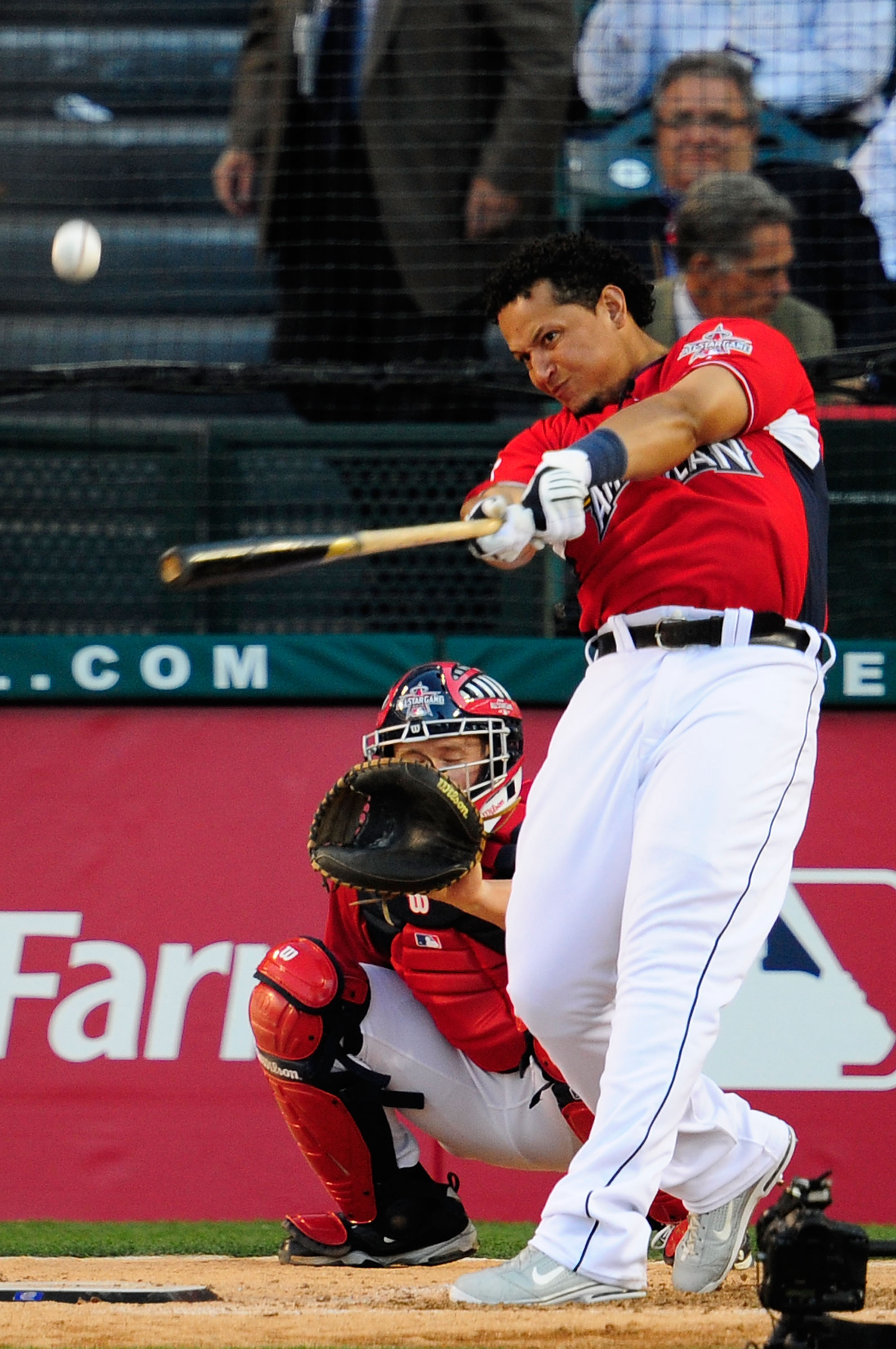 ANAHEIM, CA - JULY 12:  American League All-Star Miguel Cabrera #24 of the Detroit Tigers swings the bat during the second round of the 2010 State Farm Home Run Derby during All-Star Weekend at Angel Stadium of Anaheim on July 12, 2010 in Anaheim, Califor
