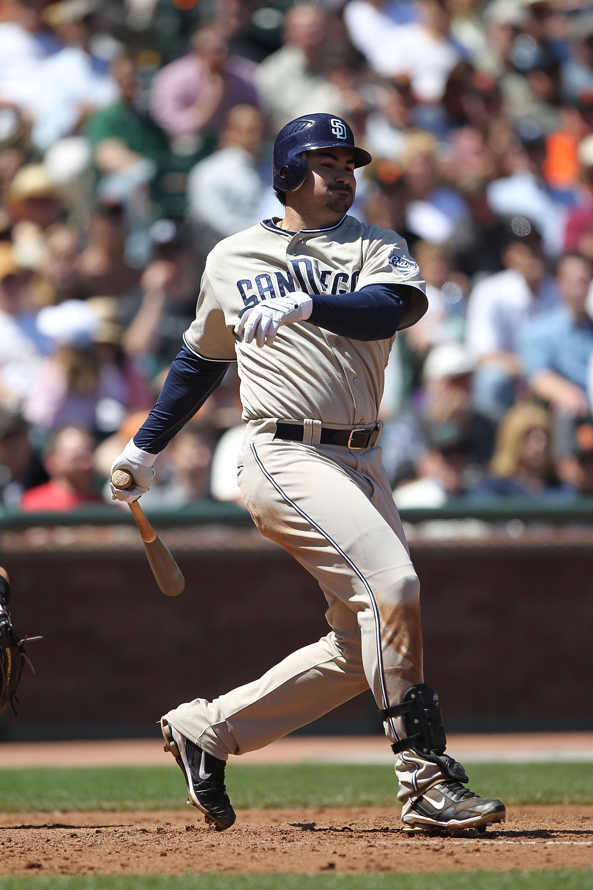 SAN FRANCISCO - MAY 13:  Adrian Gonzalez #23 of the San Diego Padres bats against the San Francisco Giants during an MLB game at AT&T Park on May 13, 2010 in San Francisco, California.  (Photo by Jed Jacobsohn/Getty Images)