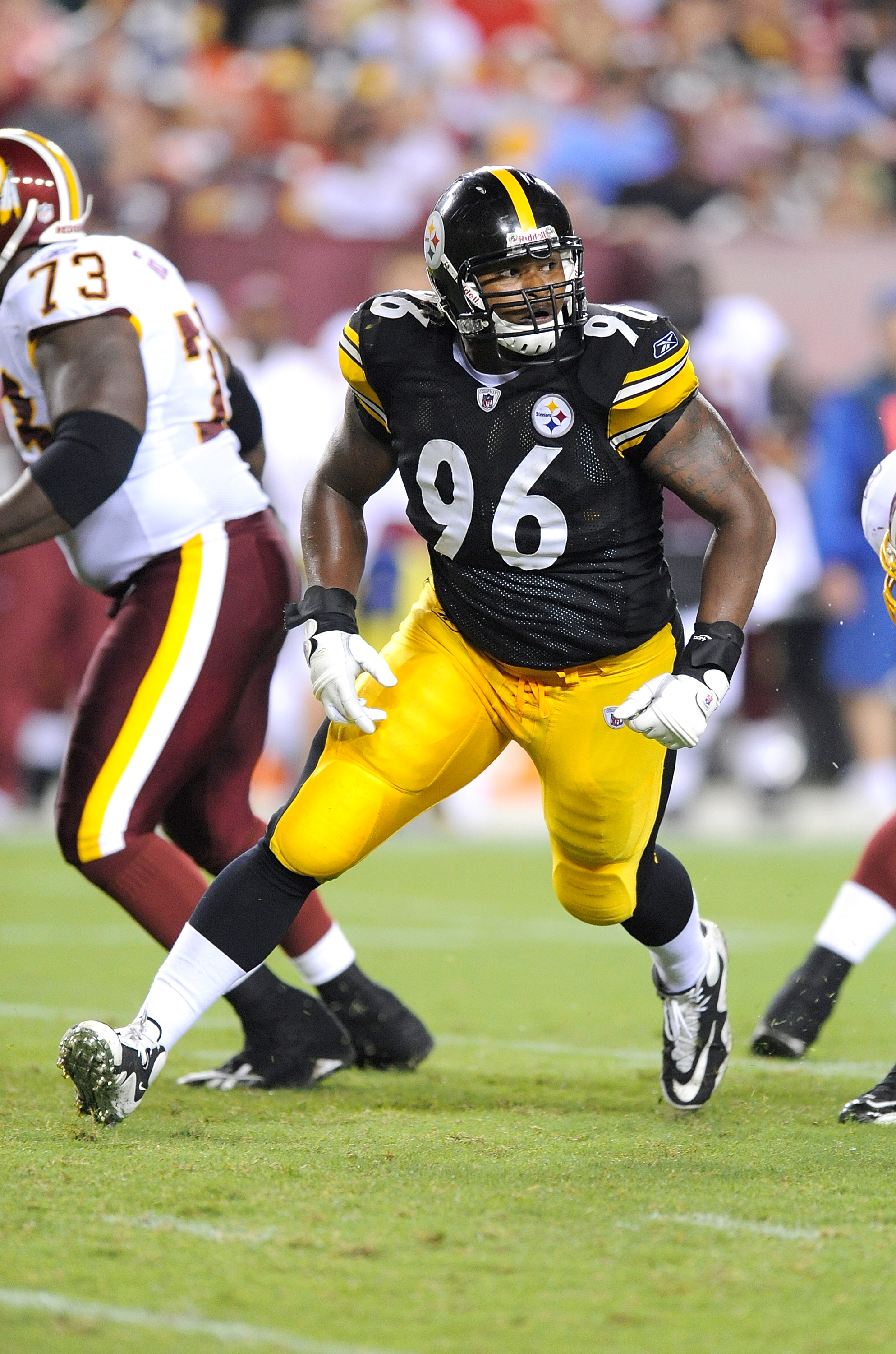 LANDOVER, MD - AUGUST 22:  Ziggy Hood #96 of the Pittsburgh Steelers rushes the quarterback during the game against the Washington Redskins at Fed Ex Field on August 22, 2009 in Landover, Maryland.  (Photo by Greg Fiume/Getty Images)