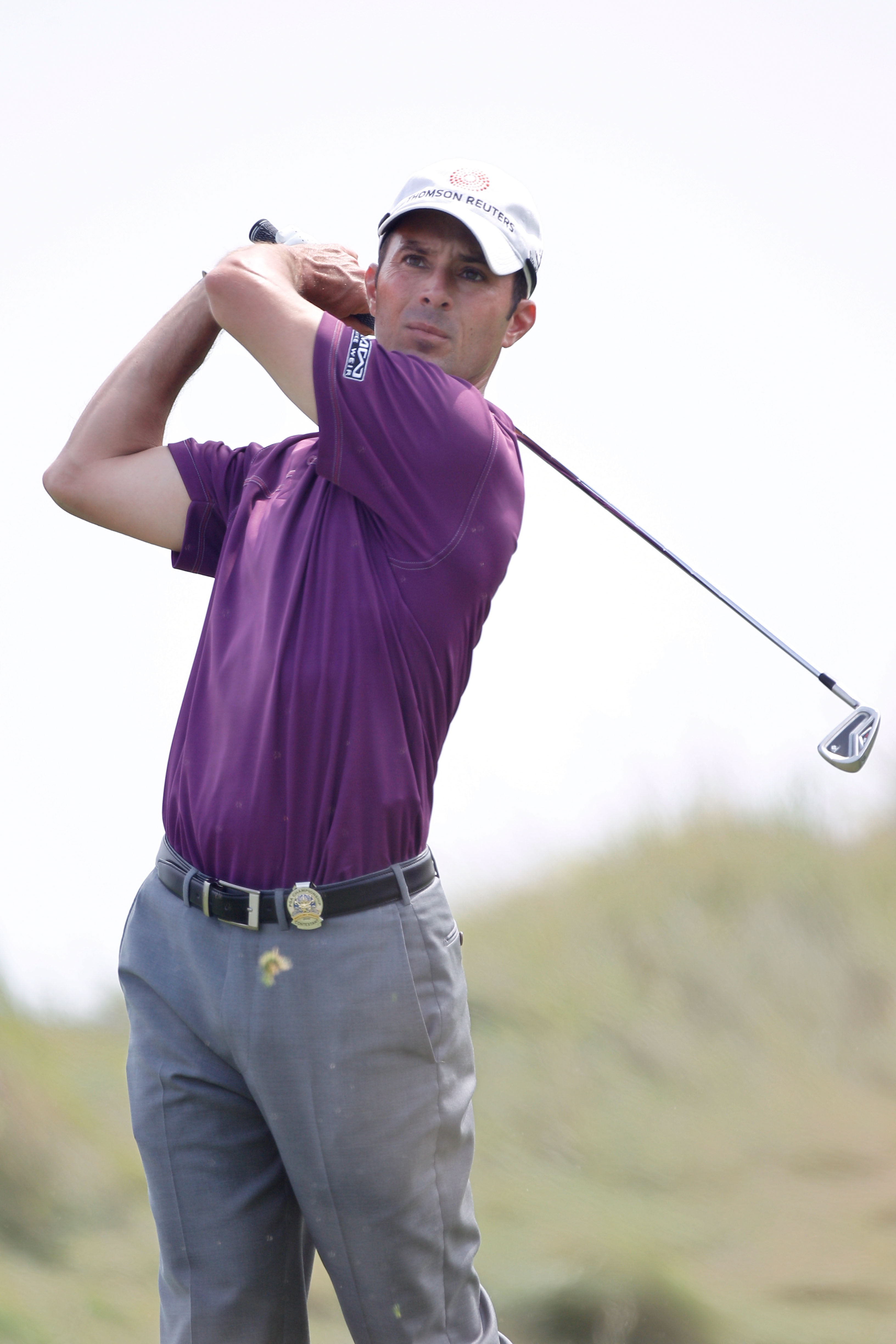 KOHLER, WI - AUGUST 10:  Mike Weir of Canada watches a shot during a practice round prior to the start of the 92nd PGA Championship on the Straits Course at Whistling Straits on August 10, 2010 in Kohler, Wisconsin.  (Photo by Chris Graythen/Getty Images)