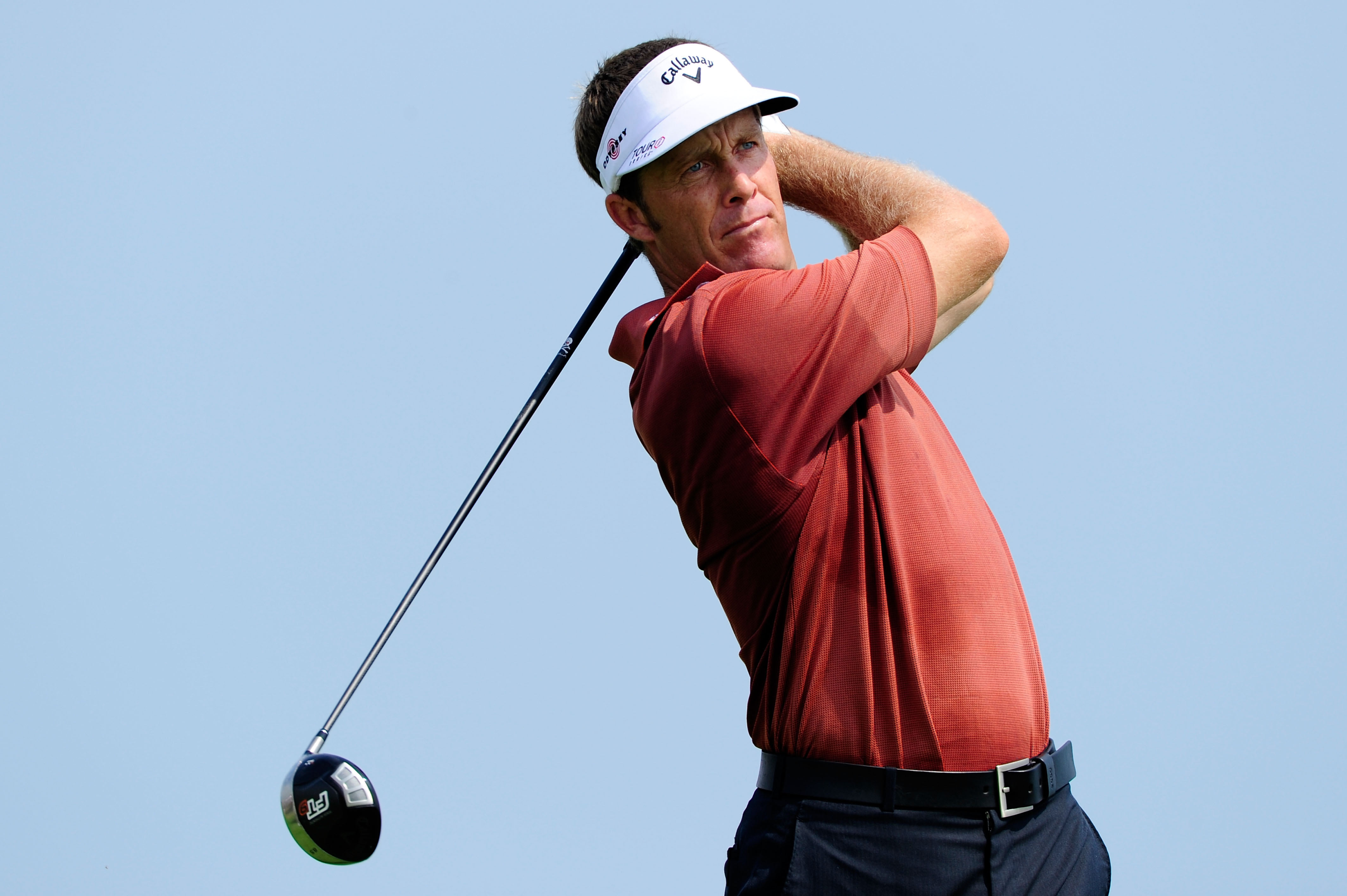 KOHLER, WI - AUGUST 10:  Stuart Appleby of Australia hits a tee shot during a practice round prior to the start of the 92nd PGA Championship on the Straits Course at Whistling Straits on August 10, 2010 in Kohler, Wisconsin.  (Photo by Stuart Franklin/Get