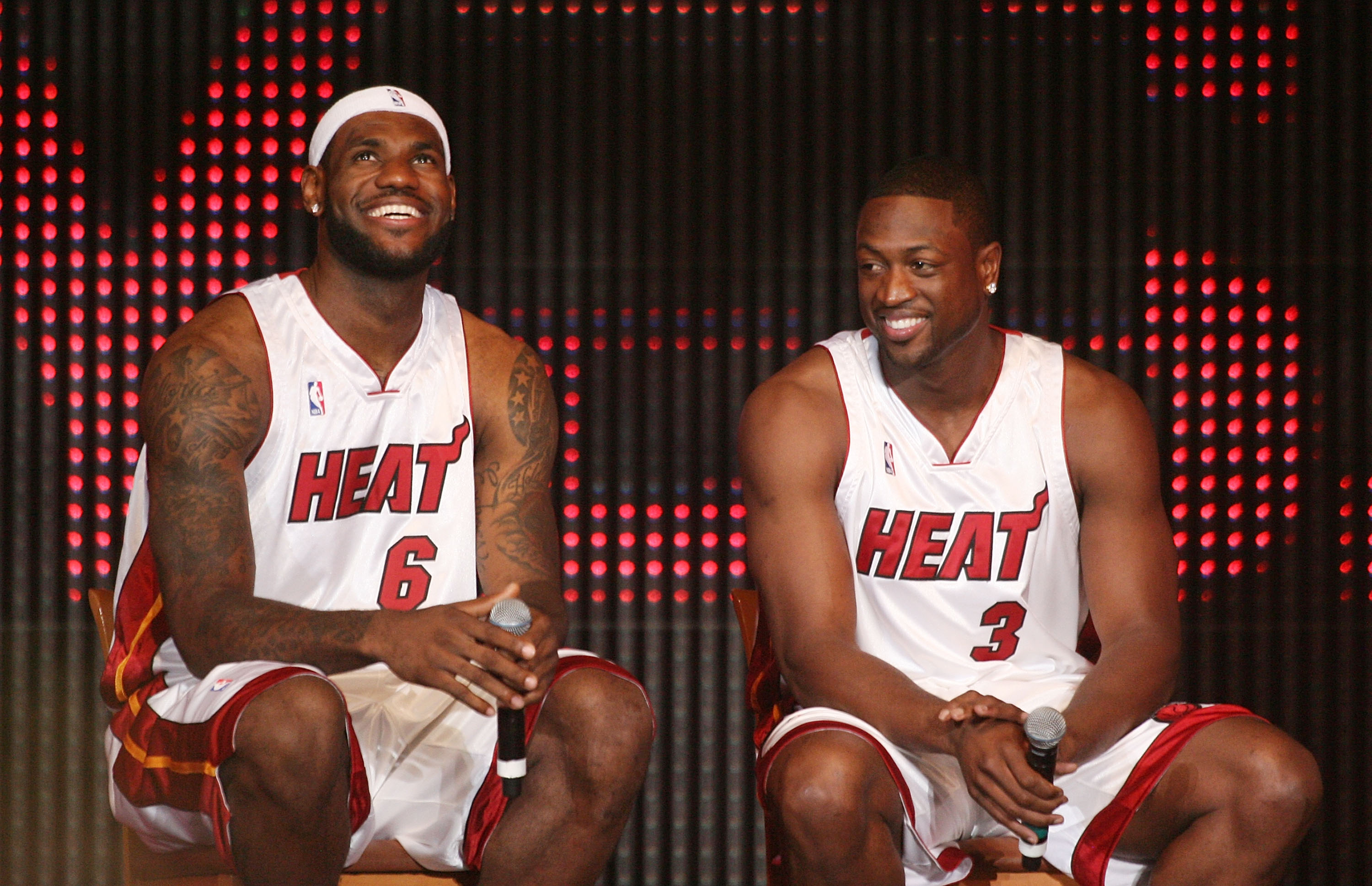 MIAMI - JULY 09:  (L-R) LeBron James #6 and Dwyane Wade #3 of the Miami Heat are introduced during a welcome party at American Airlines Arena on July 9, 2010 in Miami, Florida.  (Photo by Marc Serota/Getty Images)