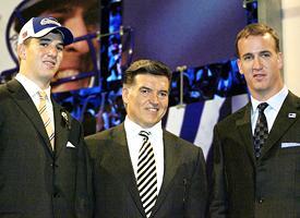 Eli Manning, Tom Condon and Peyton Manning