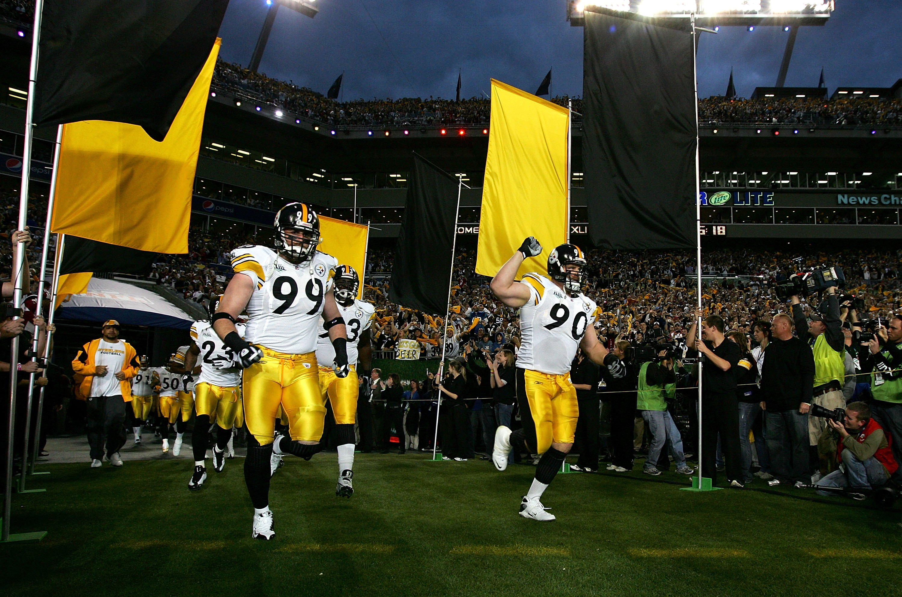 TAMPA, FL - FEBRUARY 01:  (L-R) Brett Keisel #99 and Travis Kirschke #99 of the Pittsburgh Steelers take the field during player introductions against the Arizona Cardinals during Super Bowl XLIII on February 1, 2009 at Raymond James Stadium in Tampa, Flo