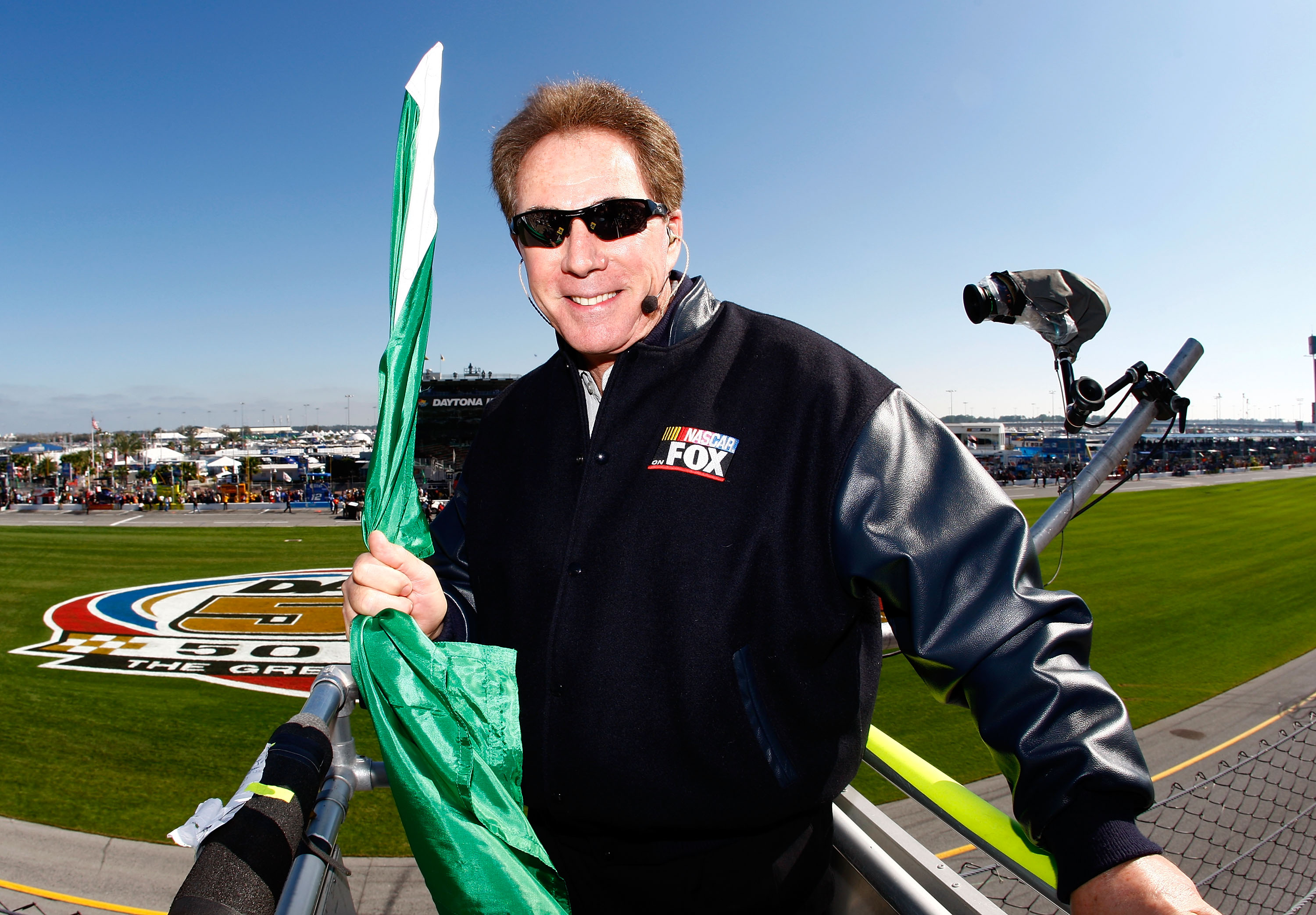 DAYTONA BEACH, FL - FEBRUARY 14:  Honorary starter Darrell Waltrip stands in the flag stand prior to the NASCAR Sprint Cup Gatorade Duels 150 at Daytona International Speedway on February 14, 2008 in Daytona Beach, Florida.  (Photo by Jamie Squire/Getty I
