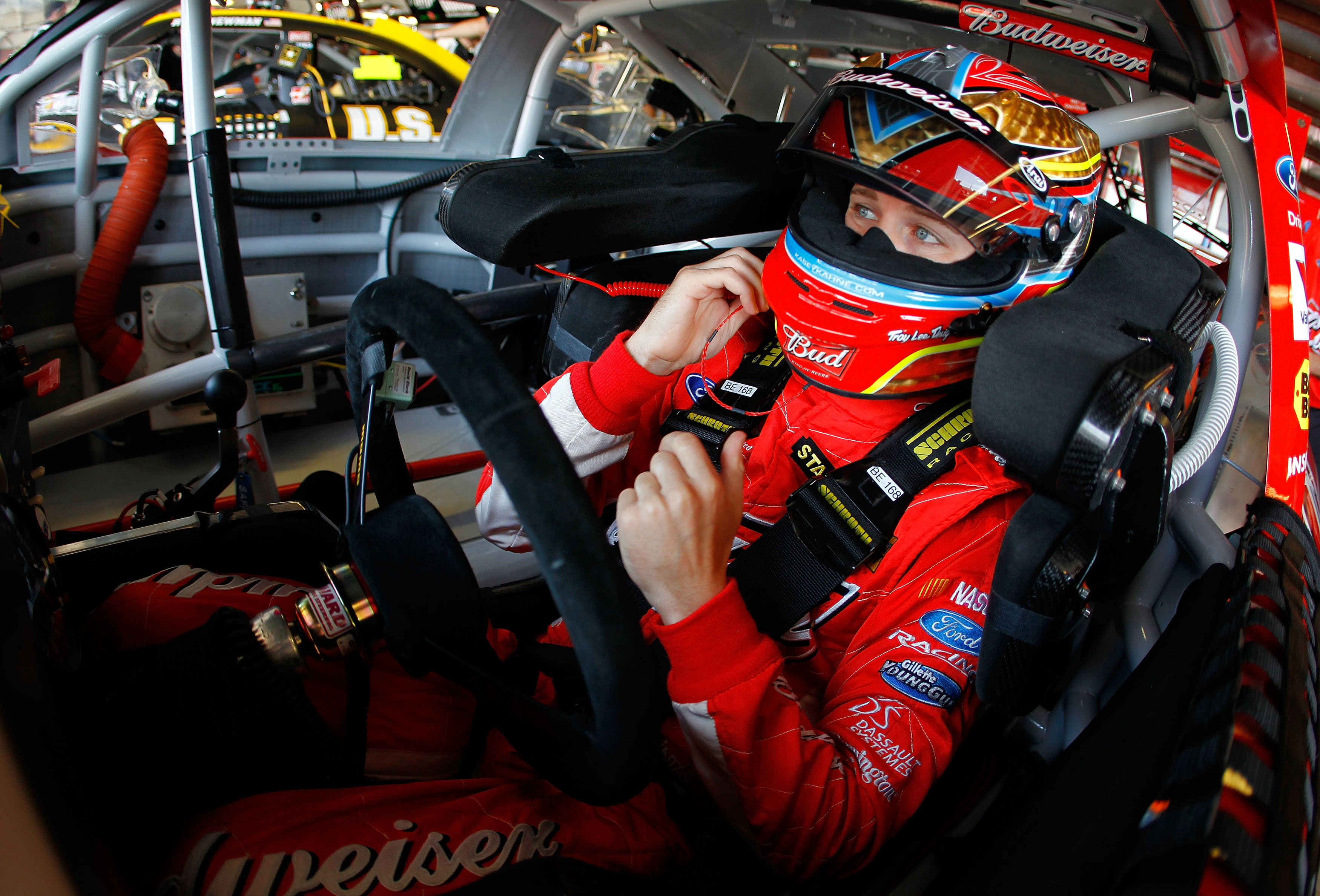 WATKINS GLEN, NY - AUGUST 06:  Kasey Kahne, driver of the #9 Budweiser Ford, sits in his car during practice for the NASCAR Heluva Good! Sour Cream Dips at The Glen on August 6, 2010 in Watkins Glen, New York.  (Photo by Todd Warshaw/Getty Images for NASC