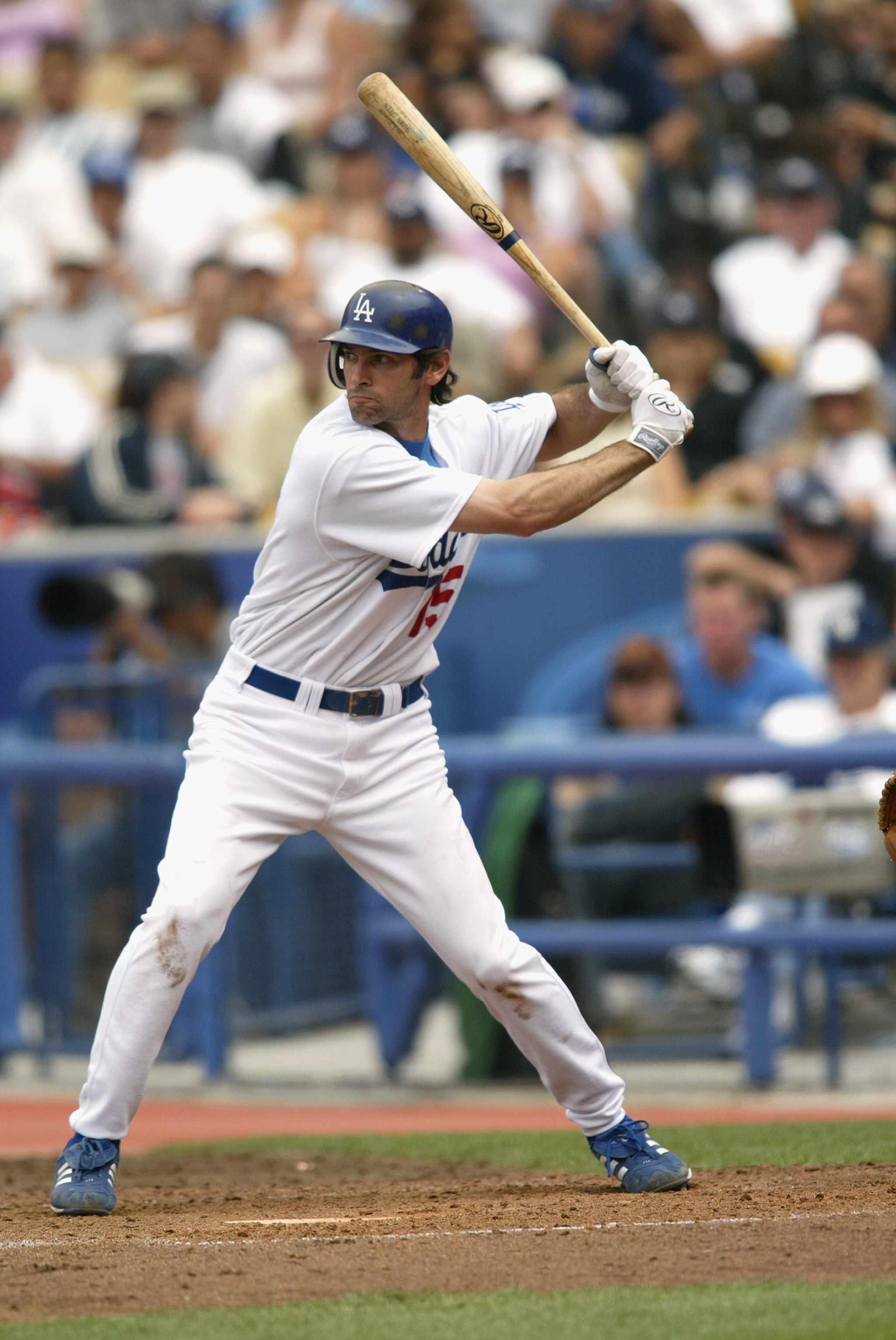 LOS ANGELES - JUNE 19:  First baseman Shawn Green #15 of the Los Angeles Dodgers at bat during the game against the New York Yankees on June 19, 2004 at Dodger Stadium in Los Angeles, California. The Yankees won 6-2.  (Photo by Streeter Lecka/Getty Images