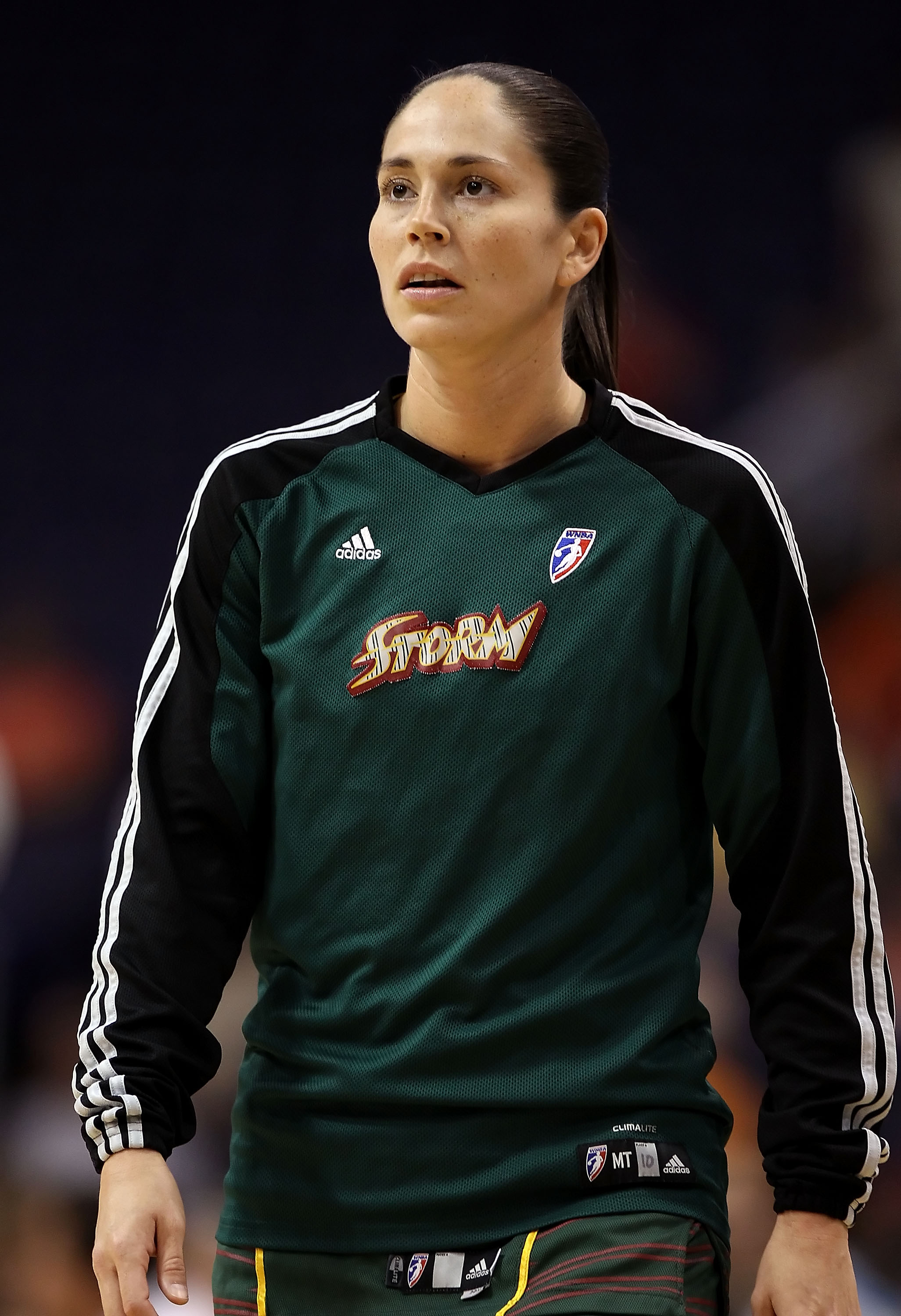 PHOENIX - JULY 14:  Sue Bird #10 of the Seattle Storm warms up before the WNBA game against the Phoenix Mercury at US Airways Center on July 14, 2010 in Phoenix, Arizona. The Storm defeated the Mercury 111-107 in triple overtime.  NOTE TO USER: User expre
