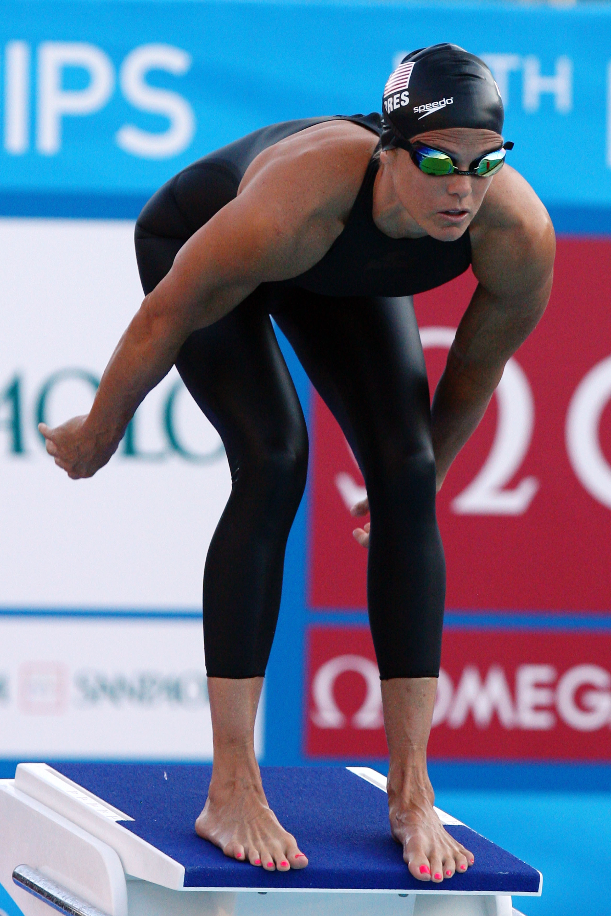 ROME - JULY 26:  Dara Torres of United States competes in the Women's 4x 100m Freestyle Final during the 13th FINA World Championships at the Stadio del Nuoto on July 26, 2009 in Rome, Italy.  (Photo by Al Bello/Getty Images)