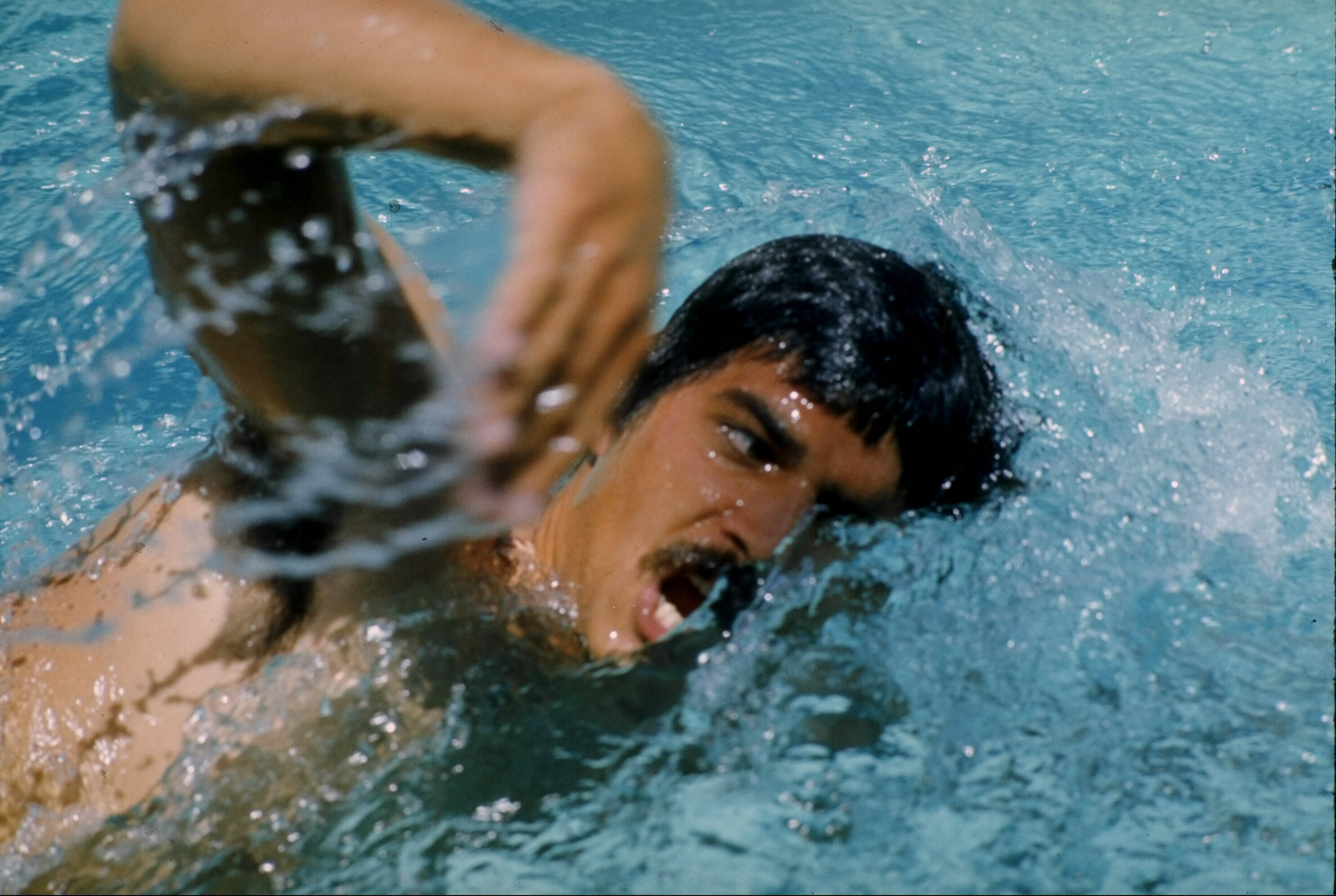 1972:  Mark Spitz of the USA in action at the 1972 Olympics Games in Munich, Germany. Spitz achieved medal winning fame at these Munich Games where he won seven golds, the highest any Olympic Competitor has won for any sport at single Games.  He took both