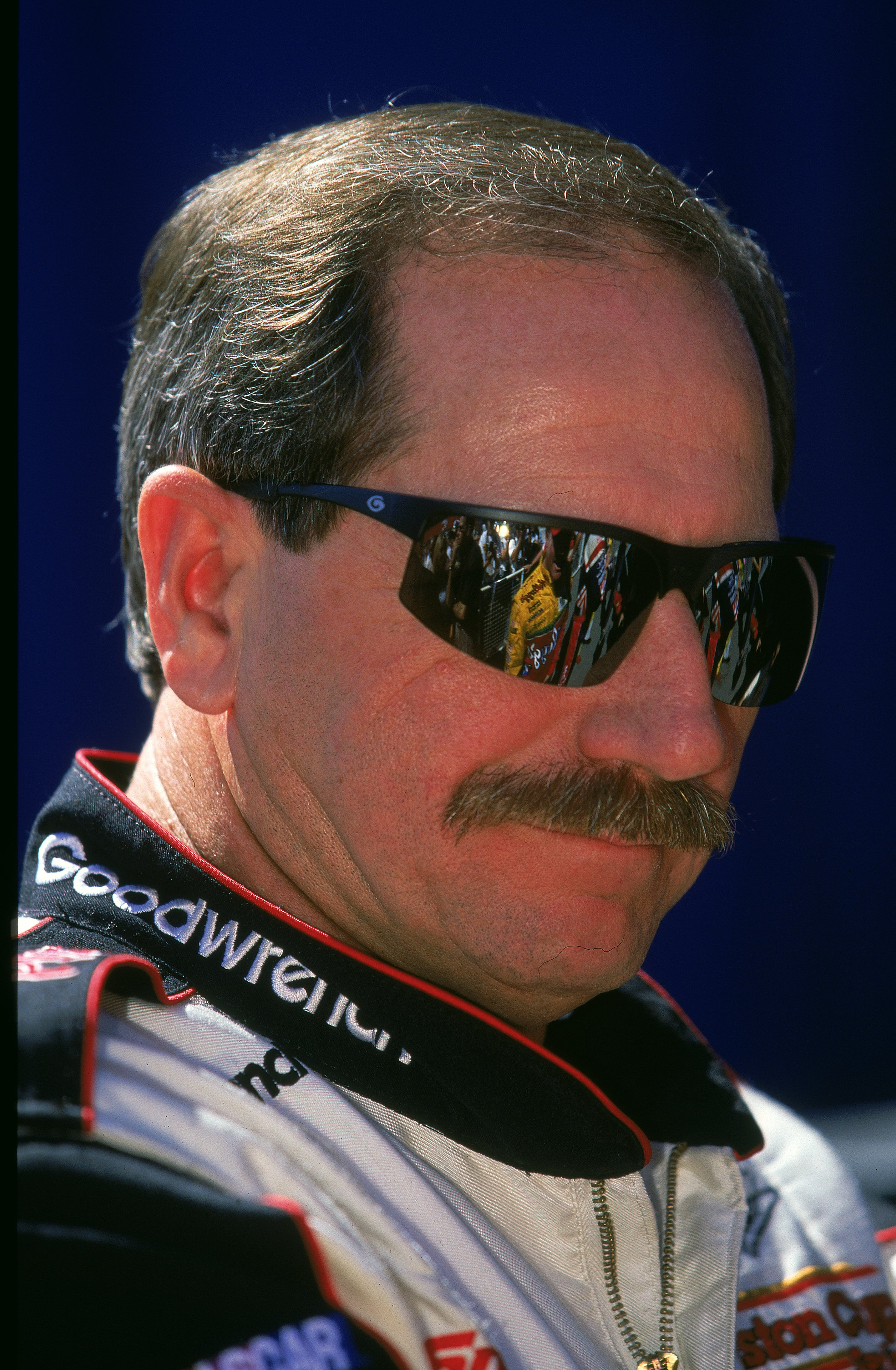 30 Apr 2000: Dale Earnhardt Sr. #3 is watching the action during the NAPA Auto Parts 500, Part of the NASCAR Winston Cup Series, at the California Speedway in Fontana, California. Mandatory Credit: Donald Miralle  /Allsport