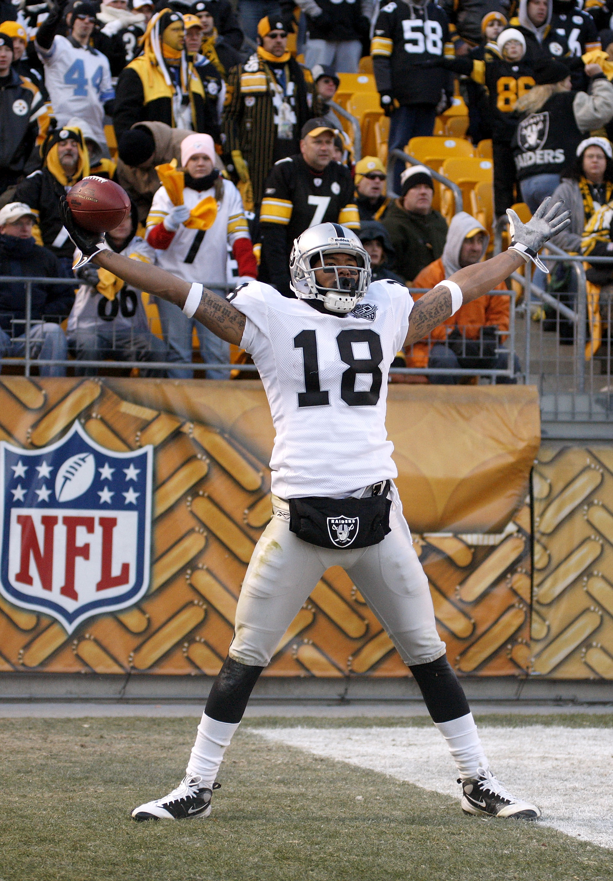 PITTSBURGH - DECEMBER 06:  Louis Murphy #18 of the Oakland Raiders celebrates a fourth quarter touchdown while playing the Pittsburgh Steelers on December 6, 2009 at Heinz Field in Pittsburgh, Pennsylvania. Oakland won the game 27-24.  (Photo by Gregory S