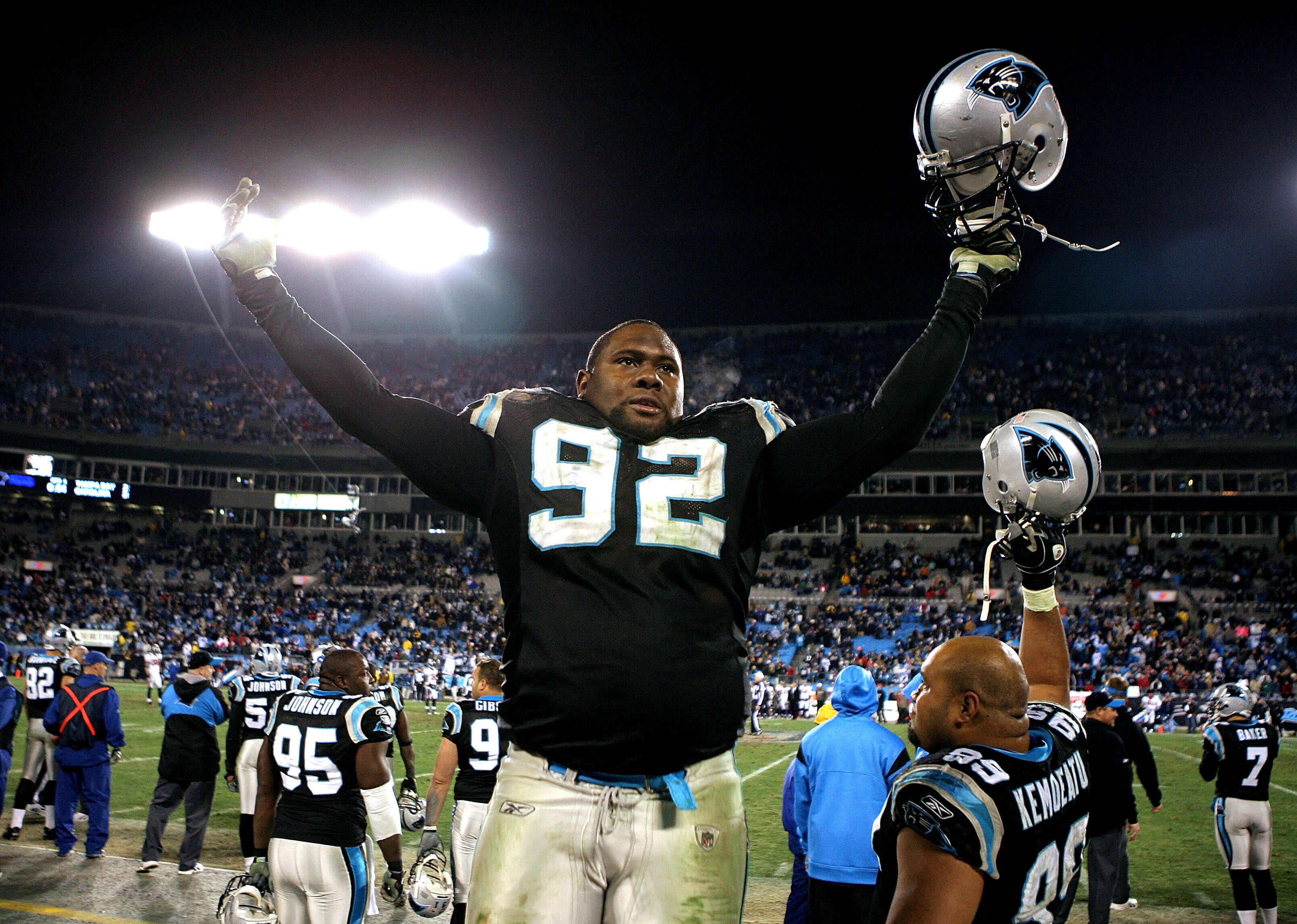 CHARLOTTE, NC - DECEMBER 08:  Damione Lewis #92 of the Carolina Panthers celebrates a win over the Tampa Bay Buccaneers at Bank of America Stadium on December 8, 2008 in Charlotte, North Carolina. The Panthers won 38-23.  (Photo by Streeter Lecka/Getty Im