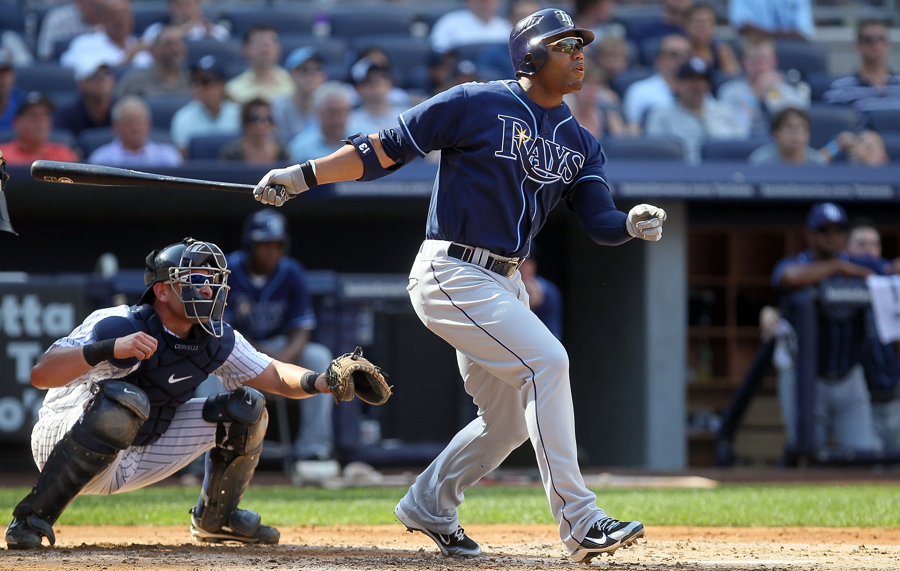 NEW YORK - JULY 17:  Carl Crawford #13 of the Tampa Bay Rays bats against the New York Yankees on July 17, 2010 at Yankee Stadium in the Bronx borough of New York City.  (Photo by Jim McIsaac/Getty Images)
