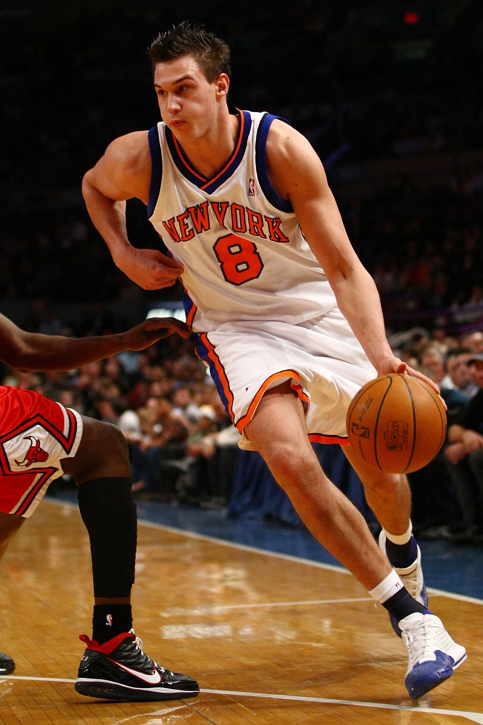 NEW YORK - DECEMBER 22:  Danilo Gallinari #8 of the New York Knicks drives to the basket against the Chicago Bulls at Madison Square Garden on December 22, 2009 in New York City. NOTE TO USER: User expressly acknowledges and agrees that, by downloading an