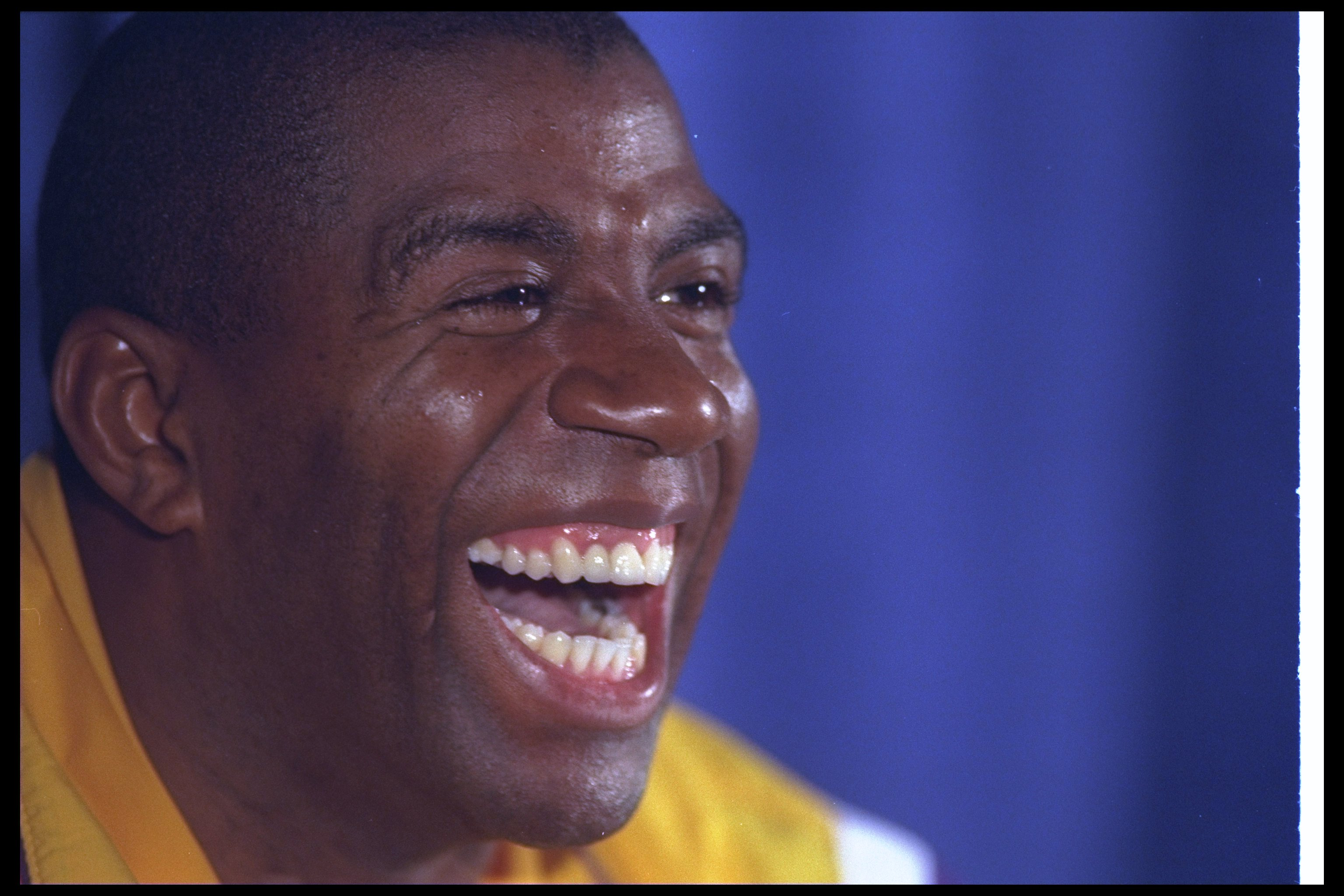 30 Jan 1996:  Guard Earvin (Magic) Johnson speaks at a press conference after a game against the Golden State Warriors at the Great Western Forum in Inglewood, California.  The Lakers won the game, 128-118. Mandatory Credit: ALLSPORT USA  /Allsport Mandat