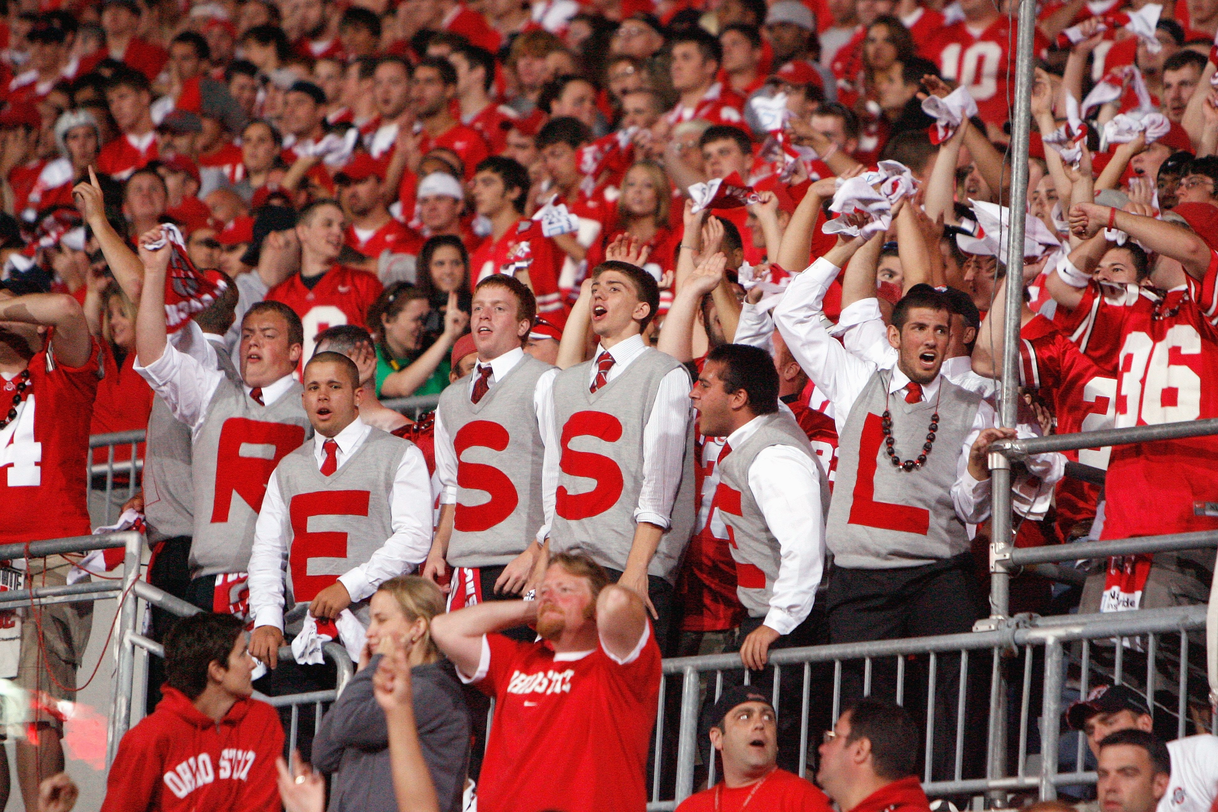 COLUMBUS, OH - SEPTEMBER 12:  Fans of the Ohio State Buckeyes cheers during the game against the Southern California Trojans on September 12, 2009 at Ohio Stadium in Columbus, Ohio. The Trojans defeated the Buckeyes 18-15. (Photo by Gregory Shamus/Getty I