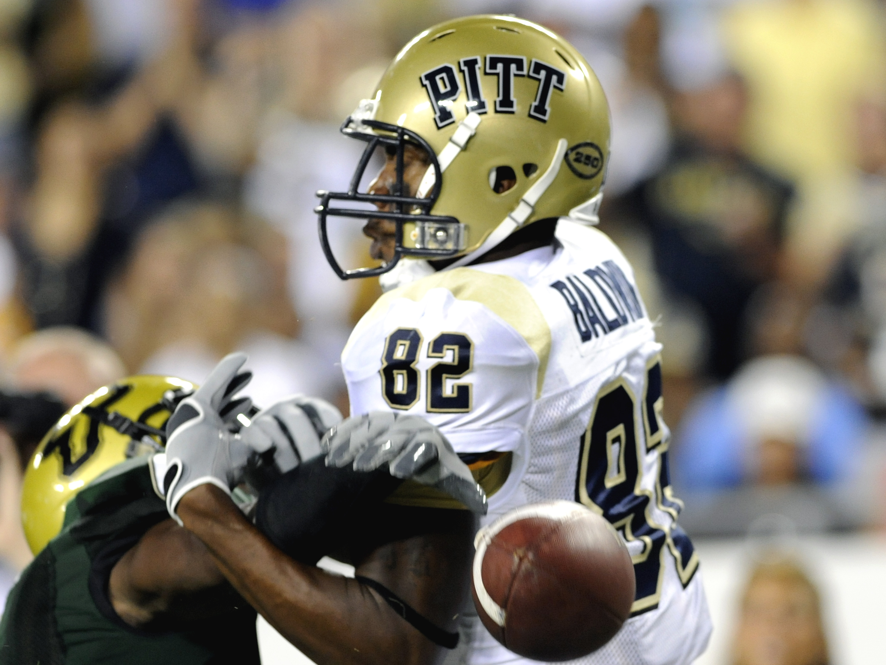 TAMPA, FL - OCTOBER 2:  Wide receiver Jonathan Baldwin #82 of the Pittsburgh Panthers draws a pass interference penalty in the end zone against the University of South Florida Bulls at Raymond James Stadium on October 2, 2008 in Tampa, Florida.  (Photo by