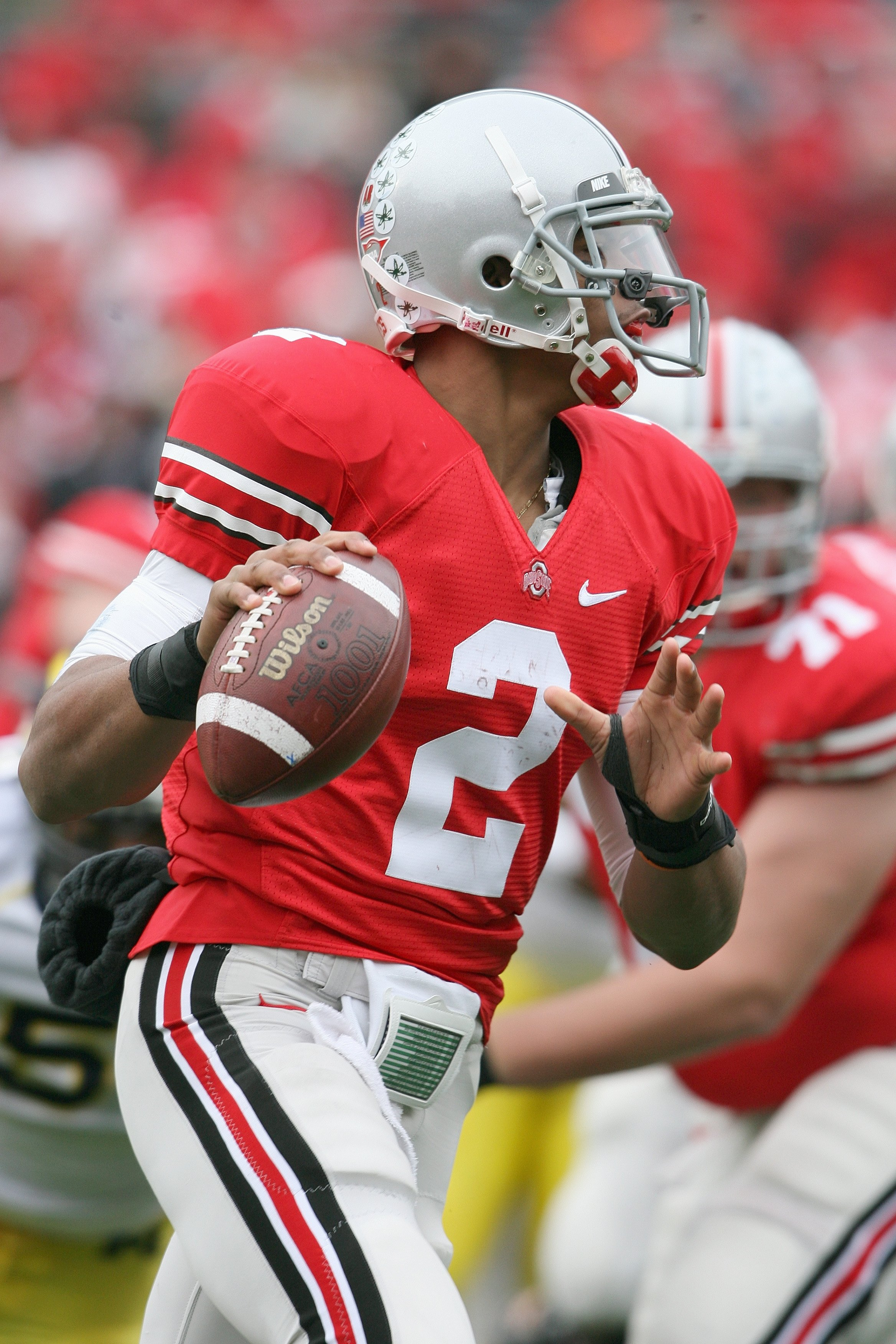 COLUMBUS, OH - NOVEMBER 22:  Quarterback Terrelle Pryor #2 of the Ohio State Buckeyes looks to pass the ball during the Big Ten Conference game against the Michigan Wolverines at Ohio Stadium on November 22, 2008 in Columbus, Ohio.  (Photo by Andy Lyons/G