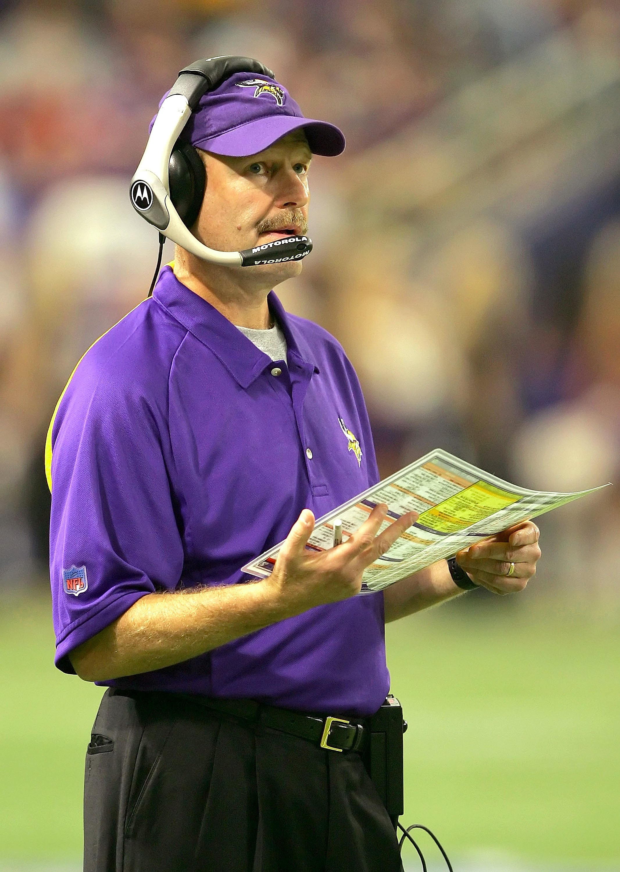 MINNEAPOLIS, MN - SEPTEMBER 17: Head coach Brad Childress of the Minnesota Vikings looks on from the sideline during the game against the Carolina Panthers on September 17, 2006 at Hubert H. Hunphrey Metrodome in Minneapolis, Minnesota. (Photo by Lisa Blu