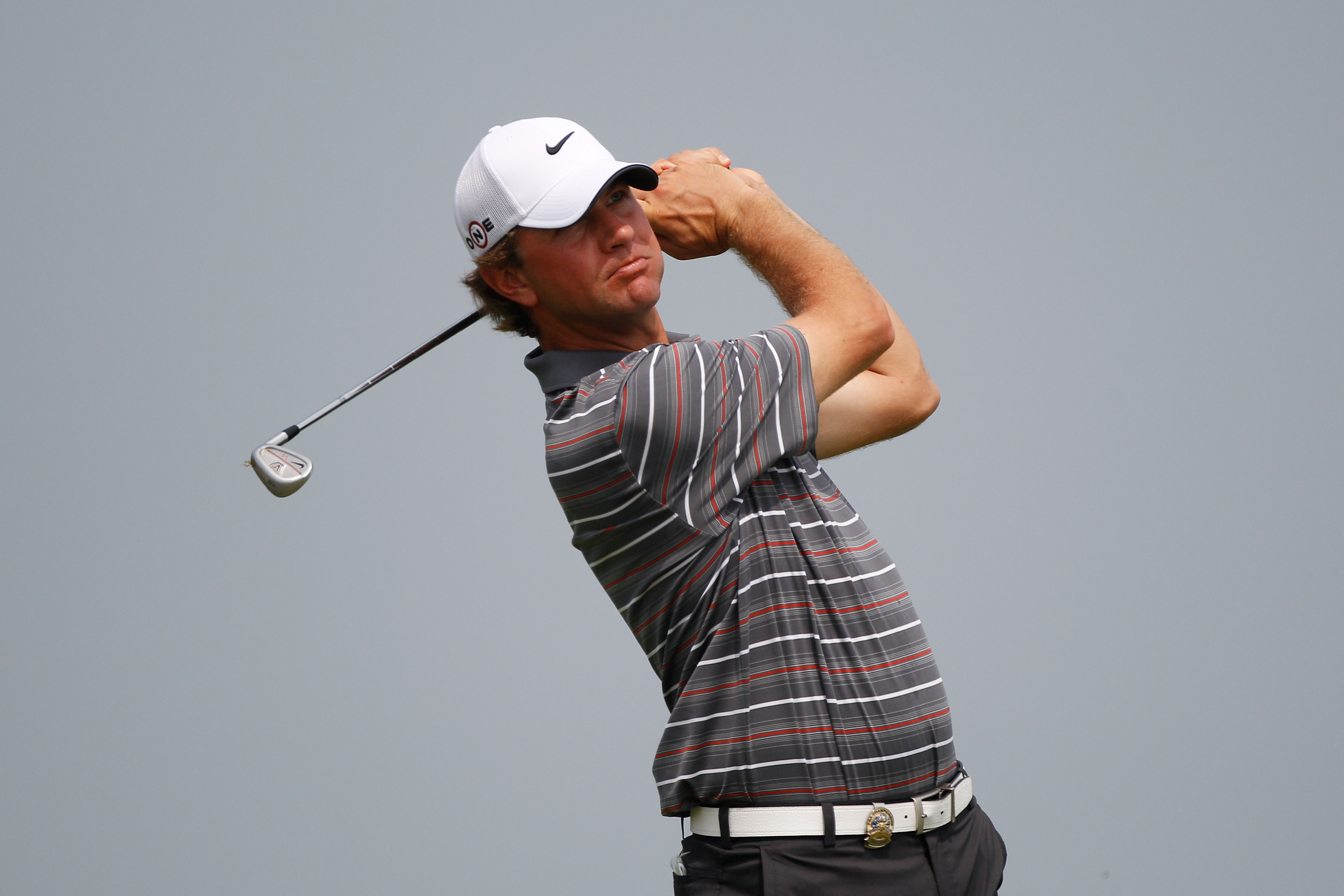 KOHLER, WI - AUGUST 10:  Lucas Glover in action during a practice round prior to the start of the 92nd PGA Championship on the Straits Course at Whistling Straits on August 10, 2010 in Kohler, Wisconsin.  (Photo by Chris Graythen/Getty Images)