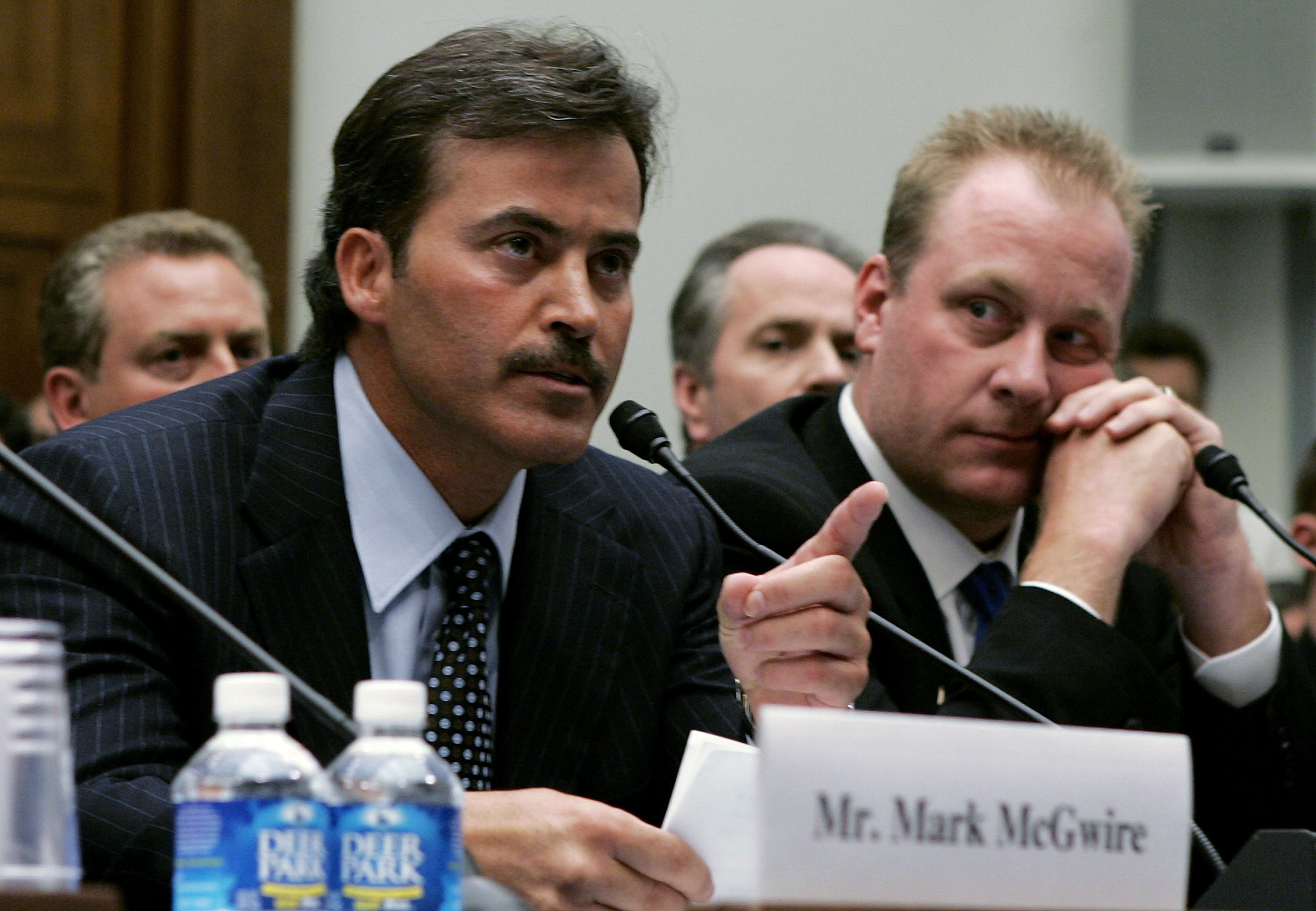 WASHINGTON - MARCH 17:  Baltimore Oriole Rafael Palmeiro testifies as Boston Red Sox pitcher Curt Schilling listens during a House Committe session investigating Major League Baseball's effort to eradicate steroid use on Capital Hill March 17, 2005 in Was
