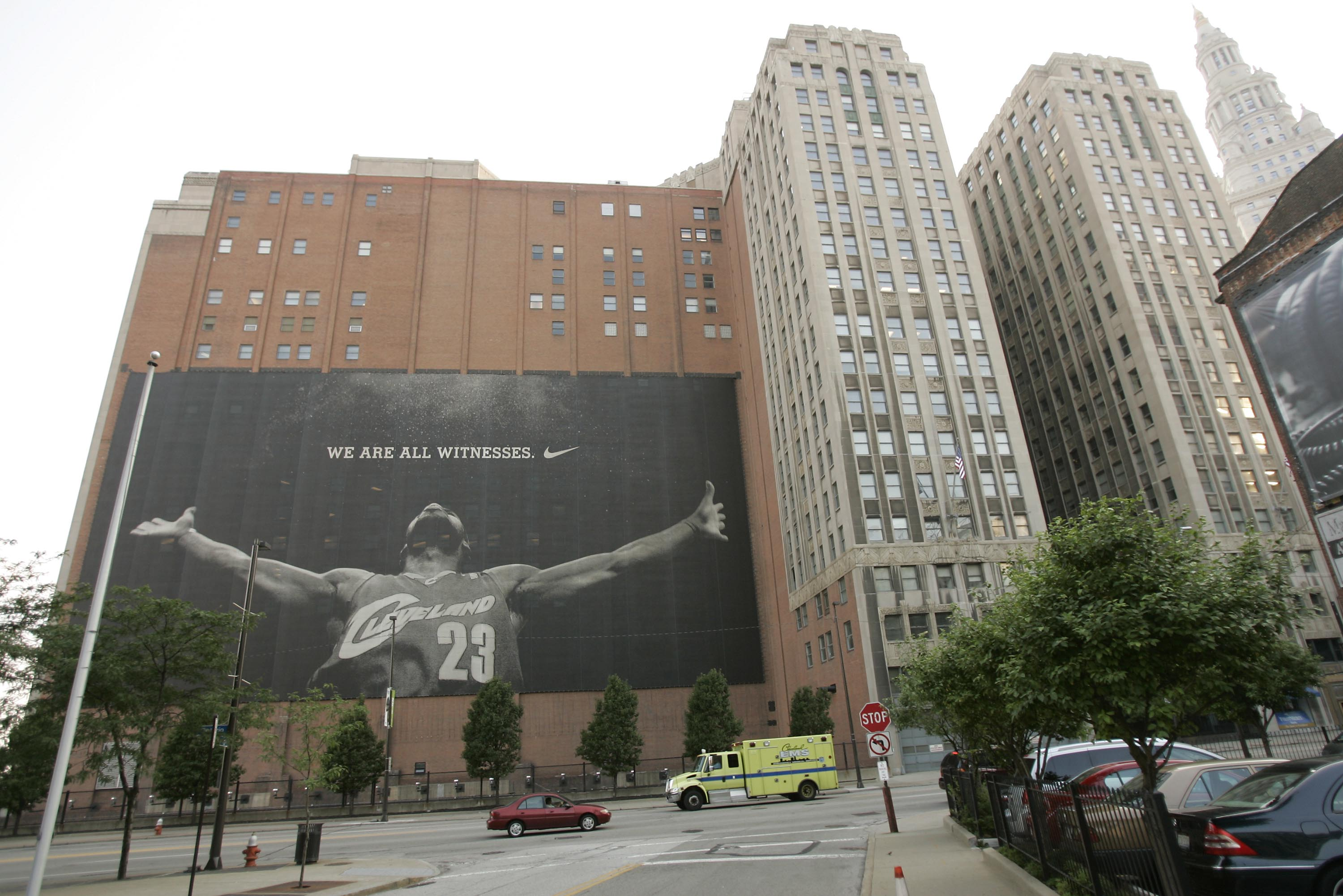 CLEVELAND - JULY 8:  A larger than life photograph of LeBron James is displayed July 8, 2010 in Cleveland, Ohio. The two-time Most Valuable Player has the choice of remaining with the Cleveland Cavaliers or signing with a new team. (Photo by J.D. Pooley/G