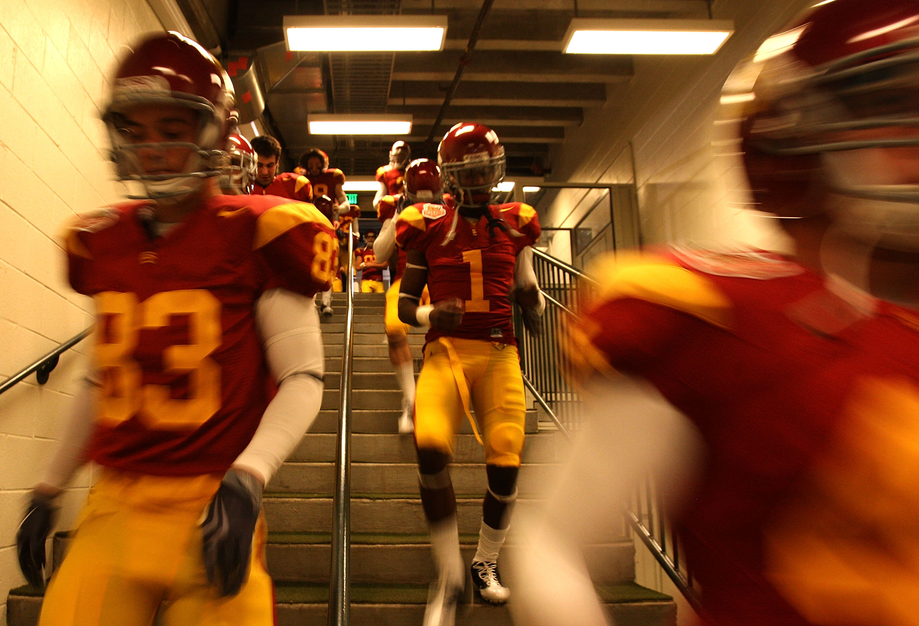 SAN FRANCISCO - DECEMBER 26: The USC Trojans enter the field against the Boston College Eagles during the 2009 Emerald Bowl at AT&T Park on December 26, 2009 in San Francisco, California. (Photo by Jed Jacobsohn/Getty Images)
