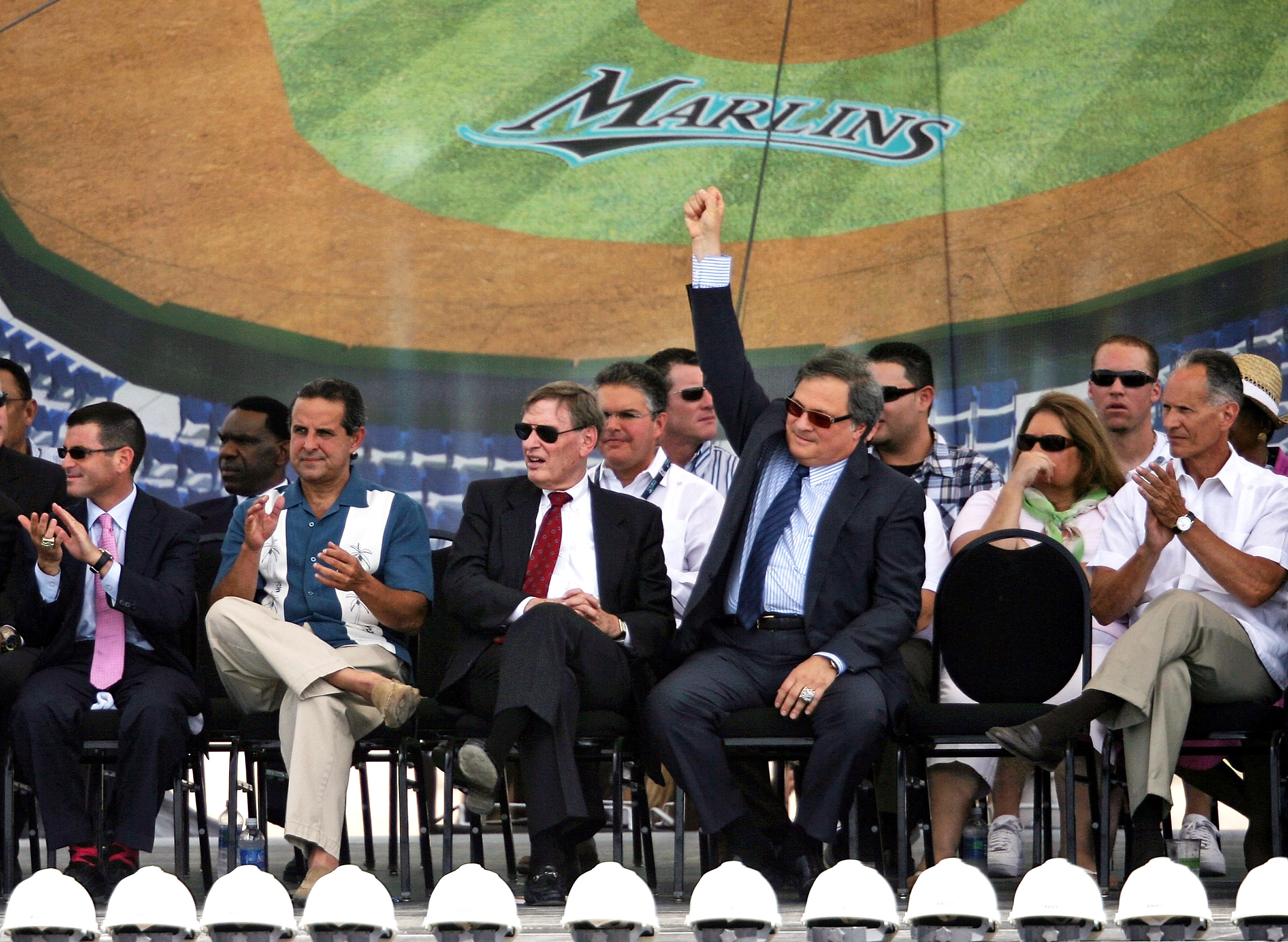 MIAMI - JULY 18:  (L-R) Florida Marlins team President David Sampson, City of Miami Mayor Manny Diaz, MLB Commisioner Bud Selig, Florida Marlins owner Jeffrey Loria and Miami-Dade County Mayor Carlos Alvarez attend the groundbreaking ceremony for the Flor